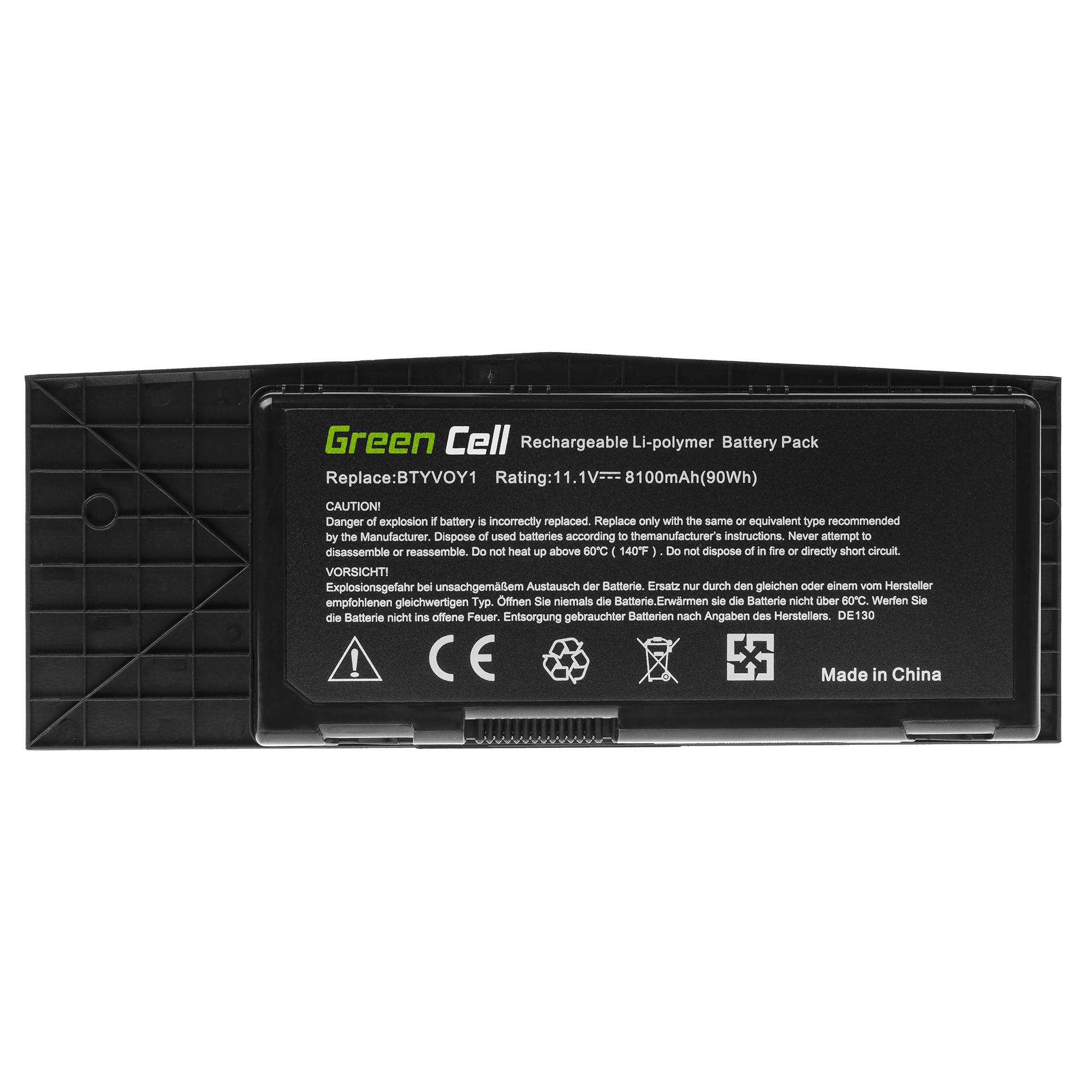 Green Cell DE130 Baterie Dell BTYVOY1,05WP5W ,07XC9N, 0C0C5M, 5WP5W, 7XC9N, Dell Alienware M17x R3 M17x R4 8100mAh Li-Pol – neoriginální