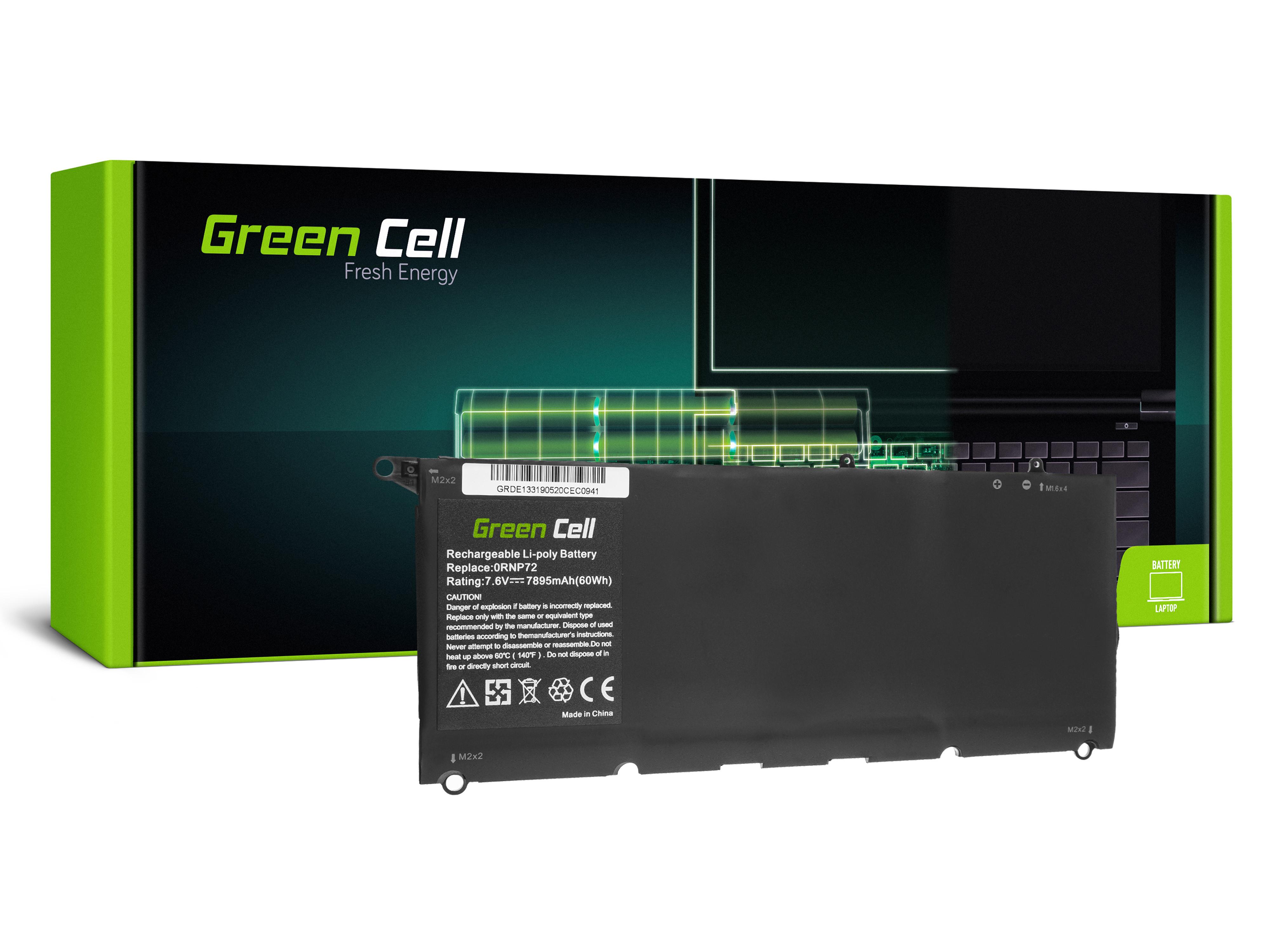 Green Cell DE133 Baterie Dell PW23Y,0RNP72,0TP1GT,RNP72,TP1GT, Dell XPS 13 9360 7895mAh Li-Pol – neoriginální