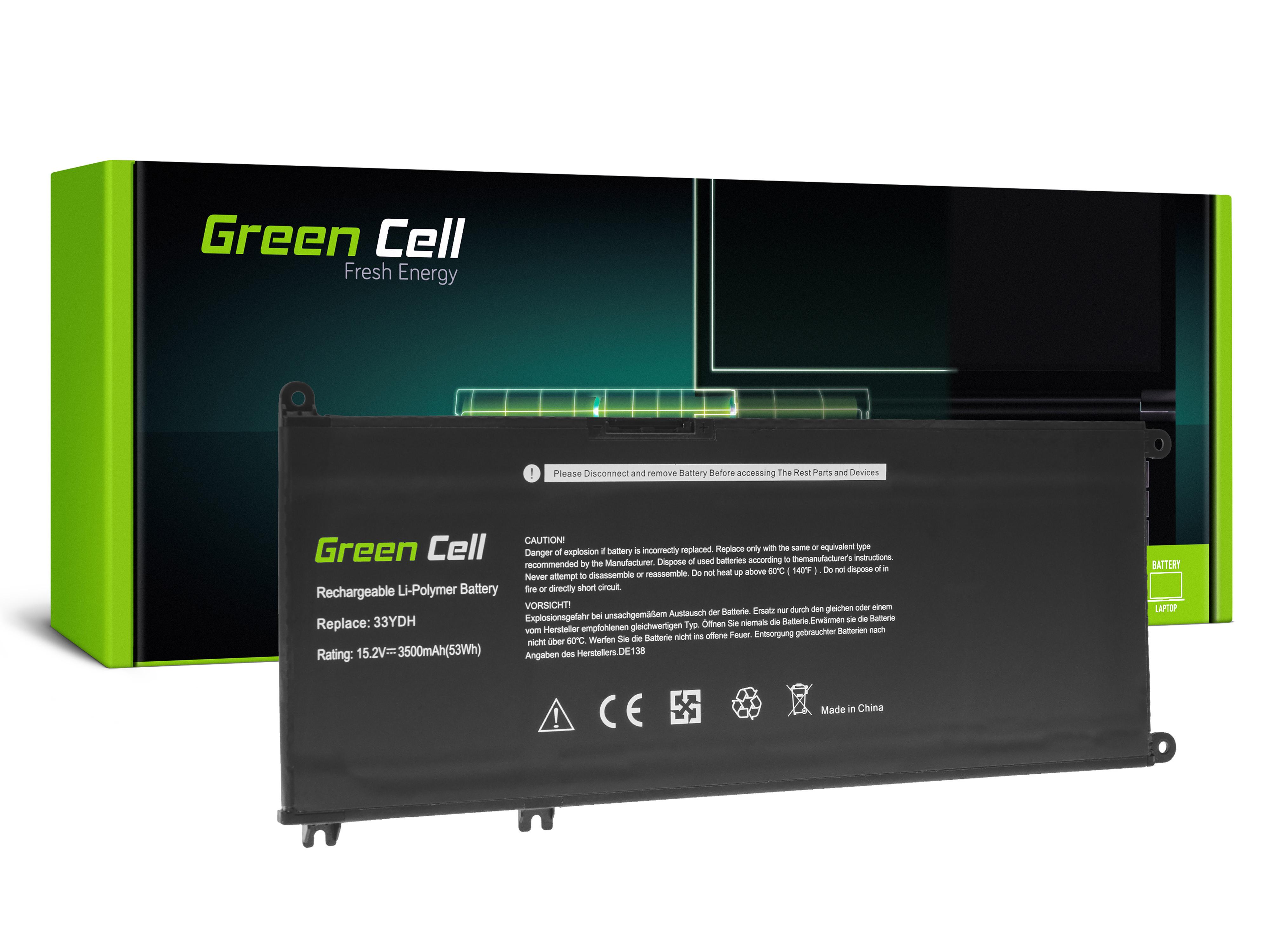 Green Cell DE138 Baterie Dell 33YDH, Dell Inspiron G3 3579 3779 G5 5587 G7 7588 7577 7773 7778 7779 7786 Dell Latitude 3380 3480 3490 3590 3500mAh Li-Pol – neoriginální