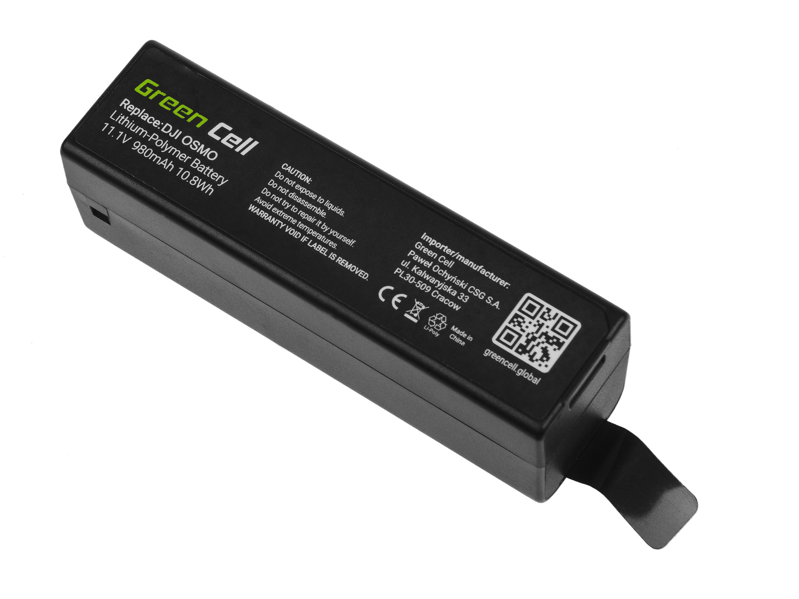 Green Cell Gimbal Battery for DJI Osmo, Osmo+, Osmo Mobile, Osmo Pro, Osmo RAW 11.1V 980mAh 10.8Wh