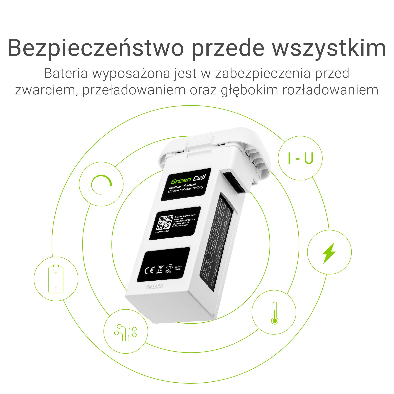 Baterie Green Cell DJI Phantom 2, Phantom 2 Vision+ 11.1V 5200mAh Li-Pol – neoriginální