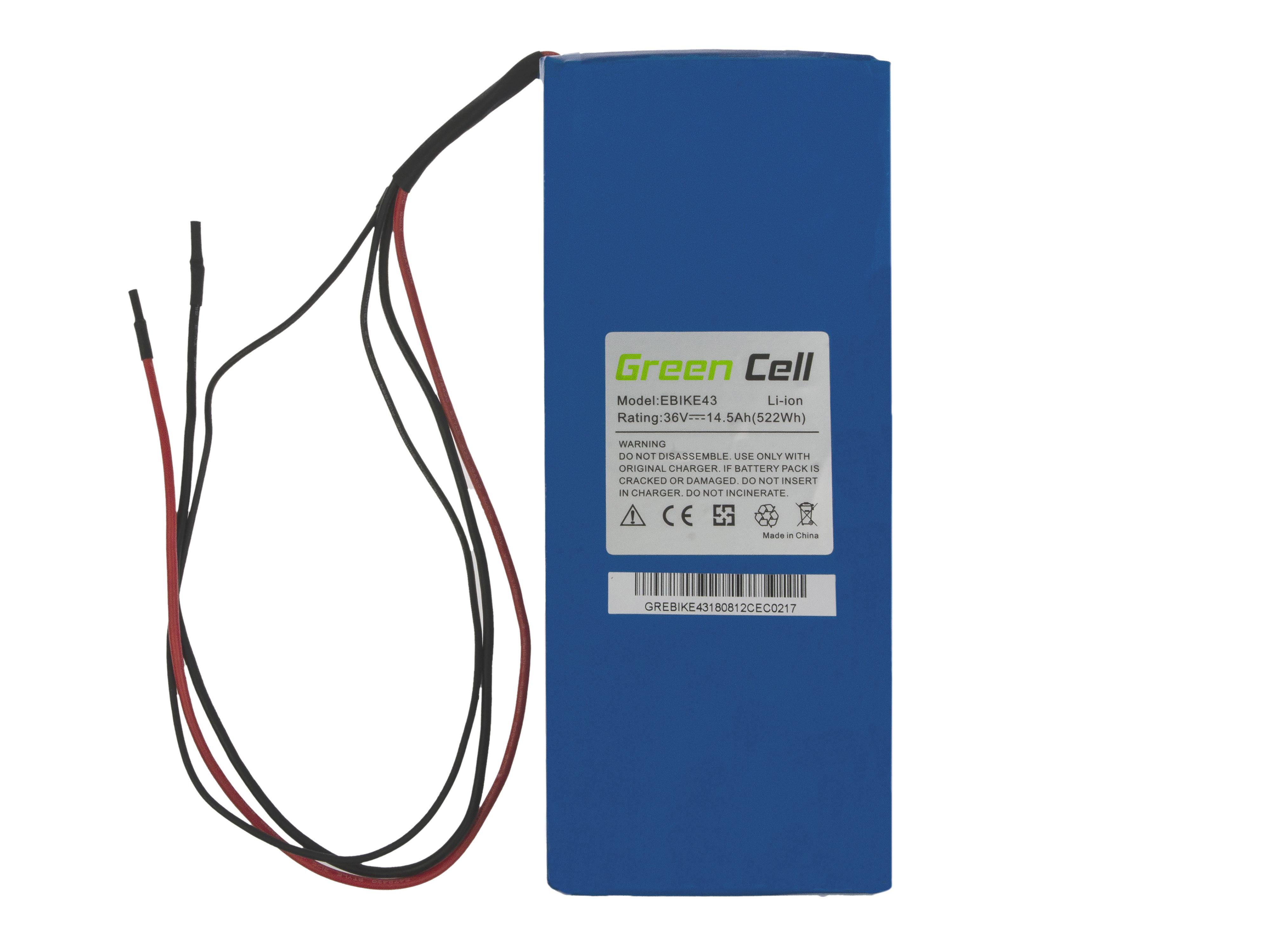 Green Cell eBike Baterie Battery Pack 36V 14,5Ah 522Wh E-Bike Pedelec