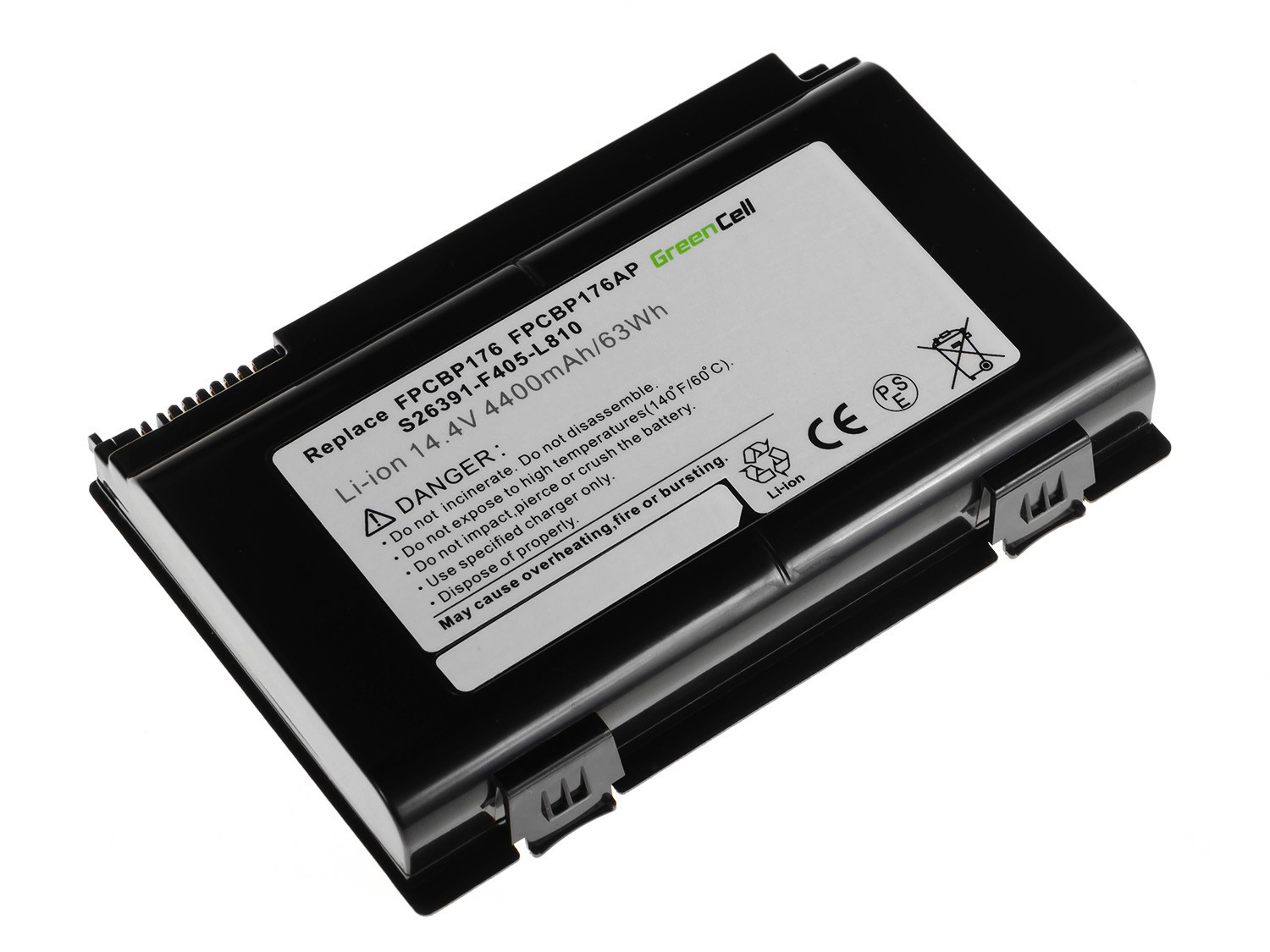 Green Cell Battery for Fujitsu-Siemens LifeBook E8410 E8420 E780 N7010 AH550 NH570 / 14,4V 4400mAh