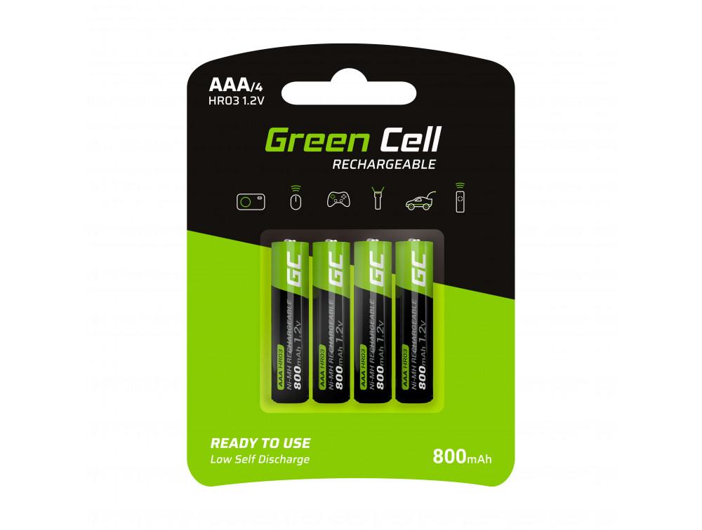 Green Cell 4x tölthető elem AAA HR03 800mAh