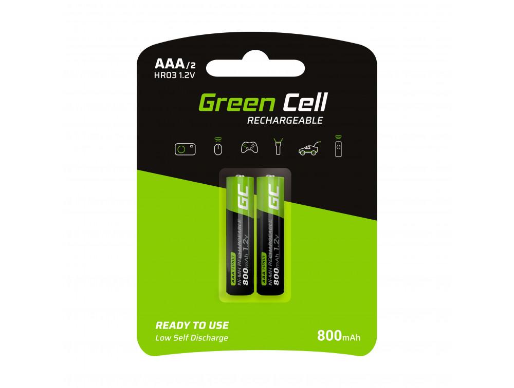 Green Cell 2x tölthető elem AAA HR03 800mAh