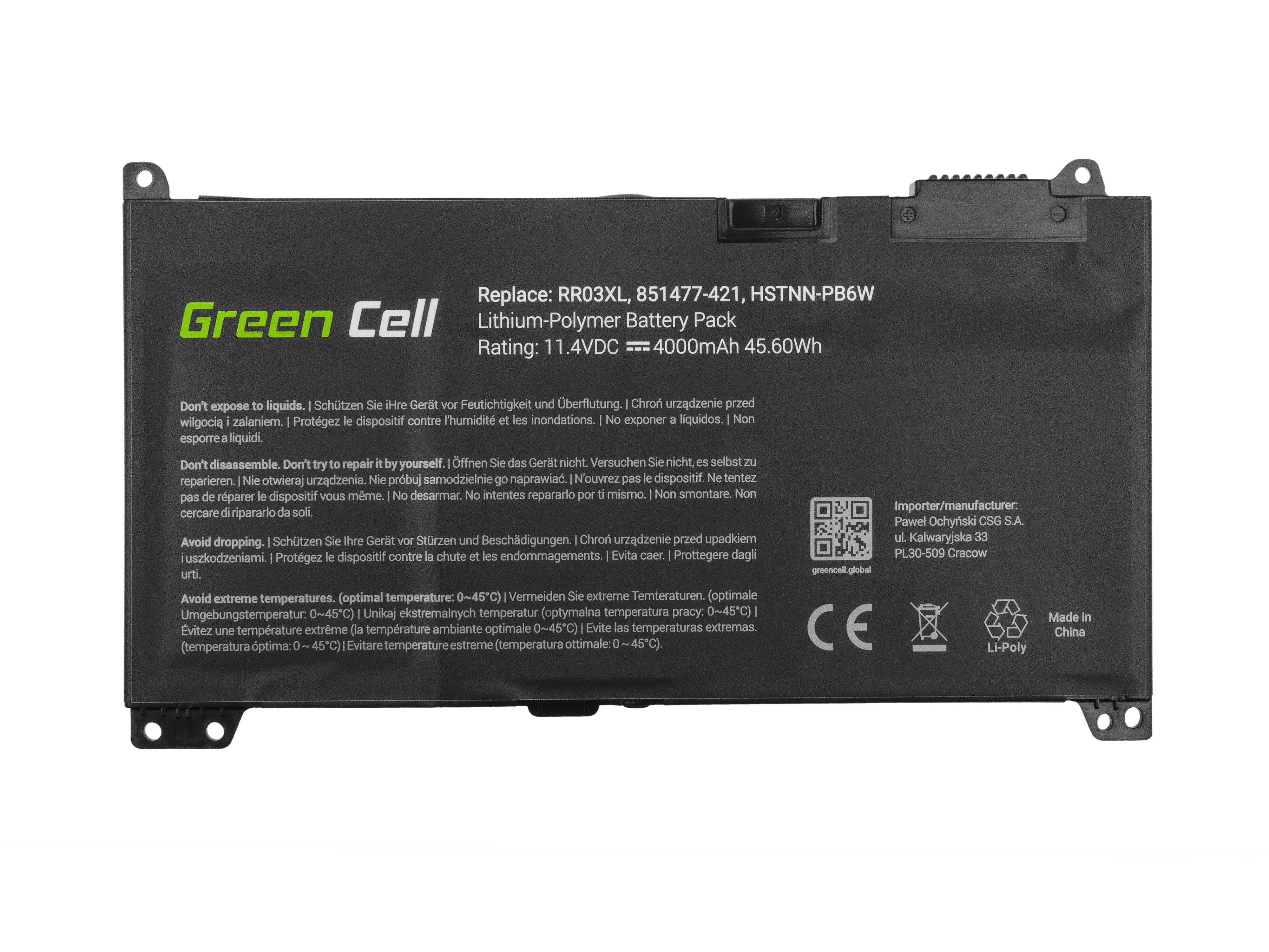 Green Cell HP122 Baterie HP RR03XL HP ProBook 430 G4 G5 440 G4 G5 450 G4 G5 455 G4 G5 470 G4 G5 4000mAh Li-Pol - neoriginální
