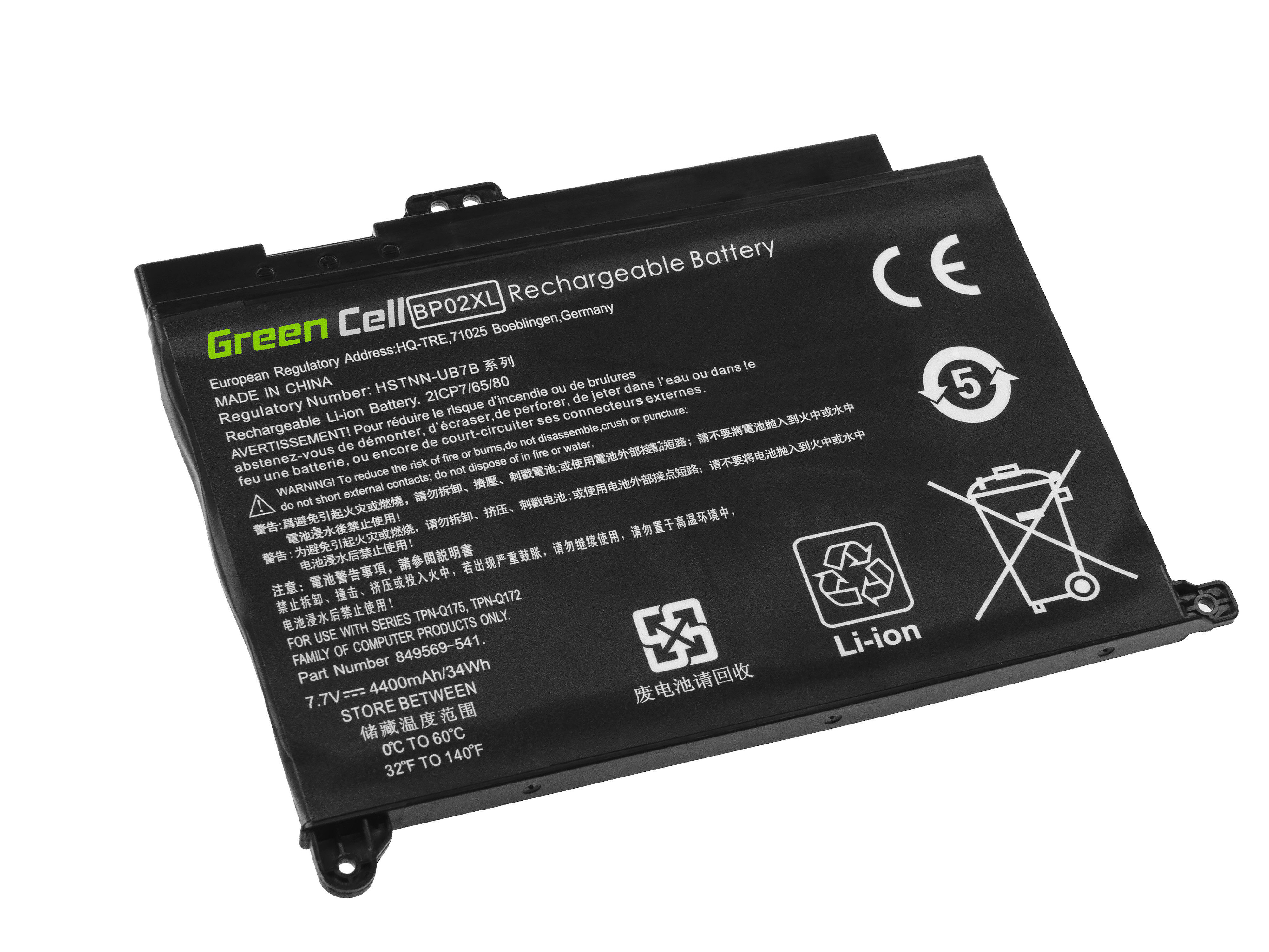 Green Cell HP150 Baterie HP BP02XL pro HP Pavilion 15-AU 15-AU051NW 15-AU071NW 15-AU102NW 15-AU107NW 15-AW 15-AW010NW 4400mAh Li-Pol – neoriginální