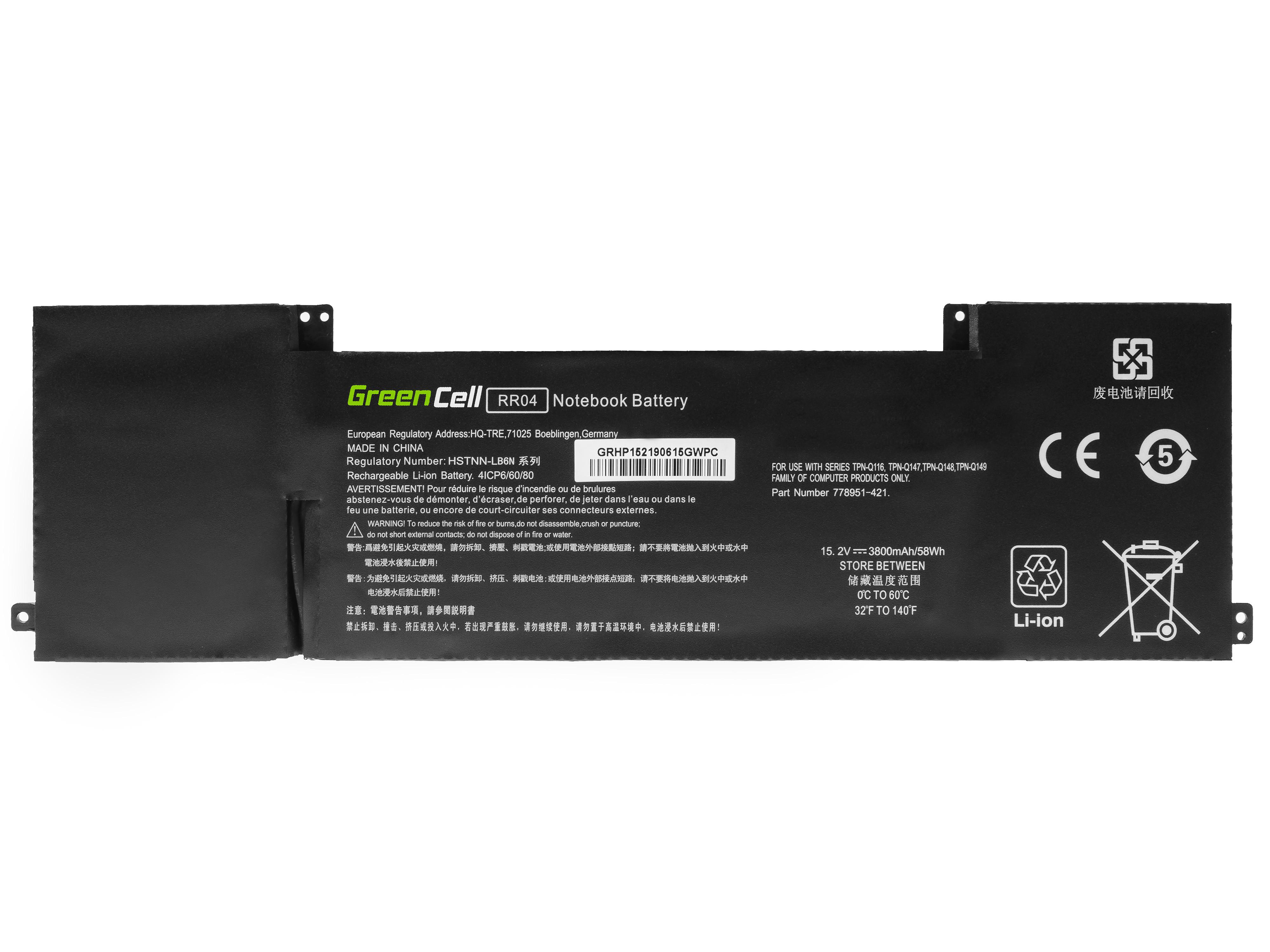 Green Cell HP152 Baterie HP RR04 pro HP Omen 15-5000 15-5000NW 15-5010NW, HP Omen Pro 15 3800mAh Li-Pol – neoriginální