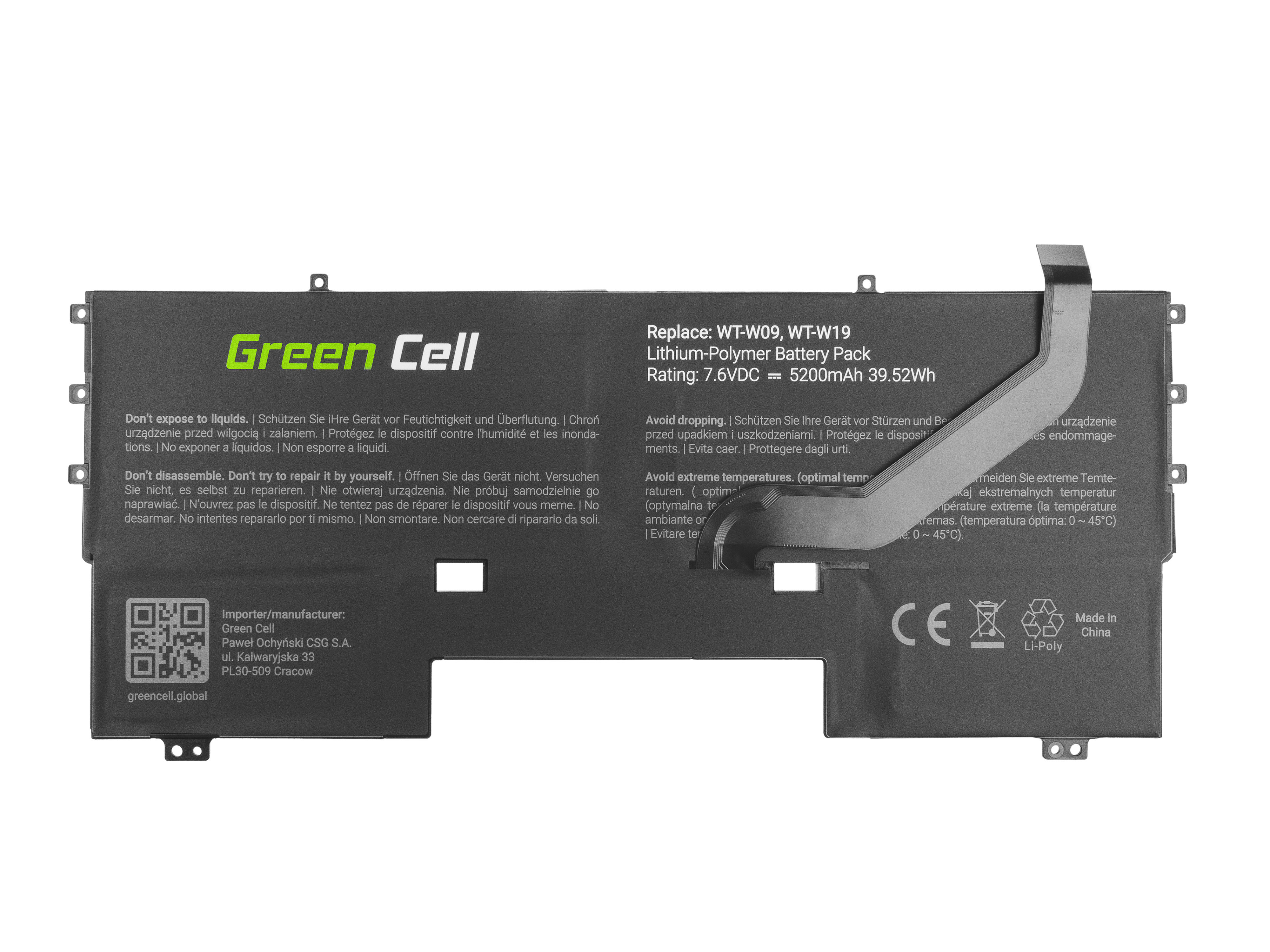 Green Cell HU01 Baterie Huawei HB54A9Q3ECW Huawei MateBook X 5200 mAh Li-Pol – neoriginální