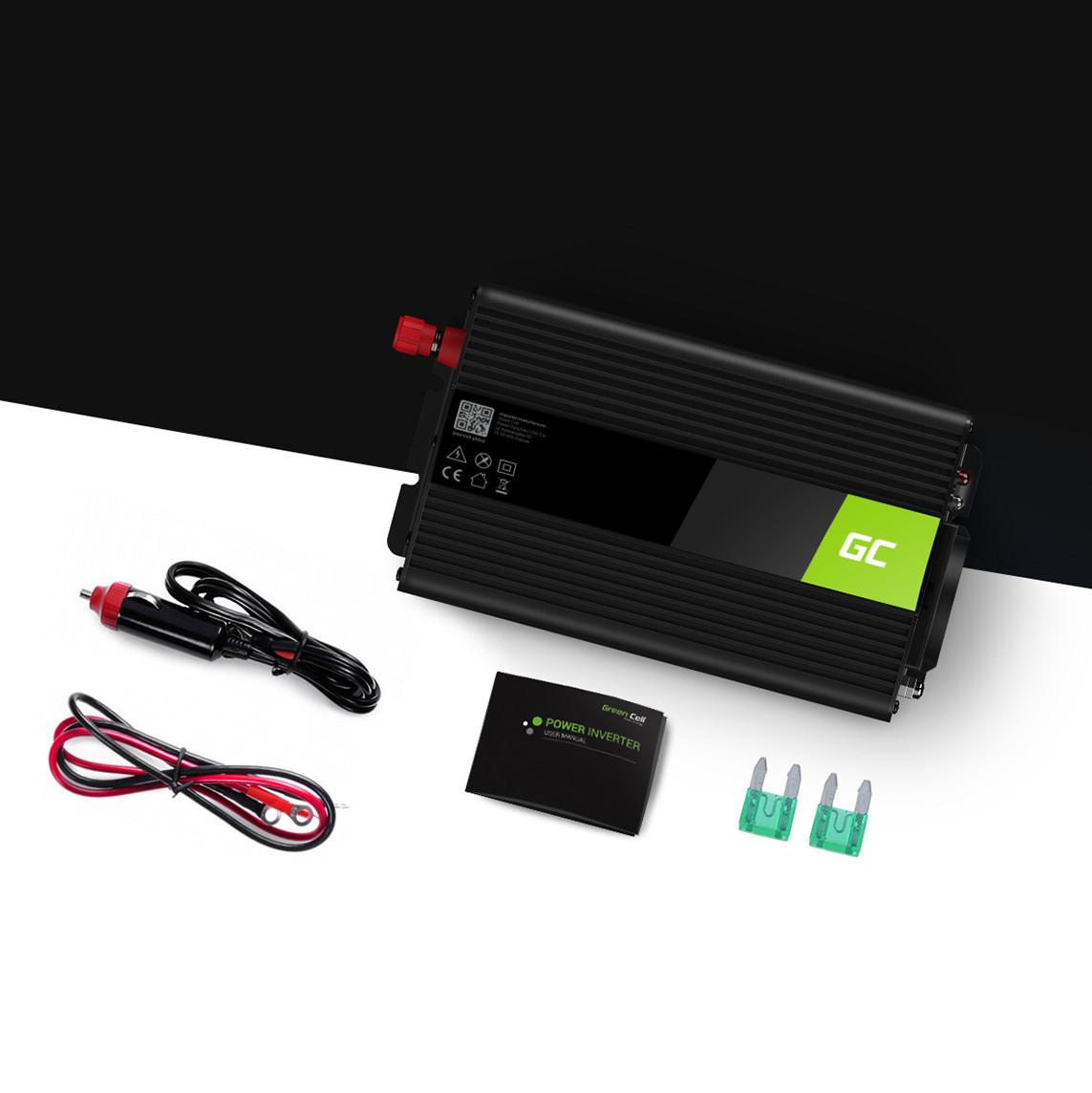 Green Cell Měnič napětí do auta z 12V na 230V, 300W/600W - modifikovaná sínusovka