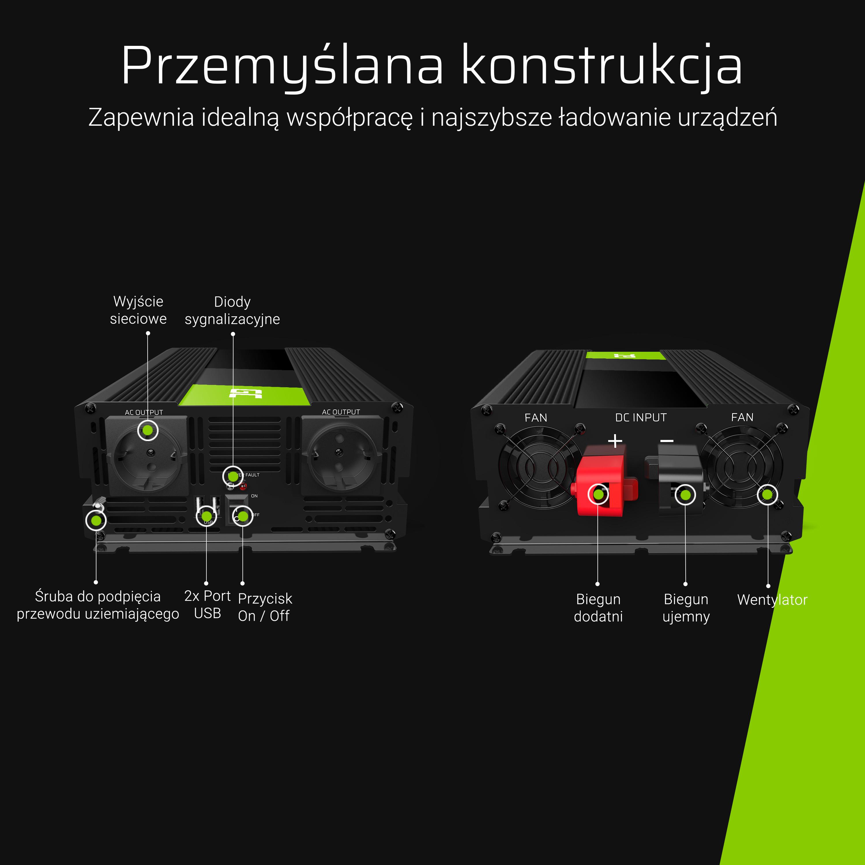 Auto měnič napětí z 12V na 230V, 3000W/6000W - modifikovaný sinus