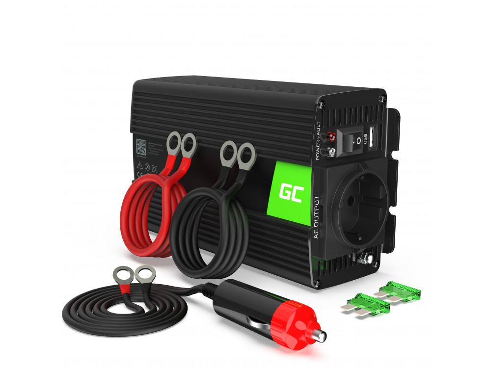 Green Cell autós inverter tiszta szinuszos 12V 230V, 500W