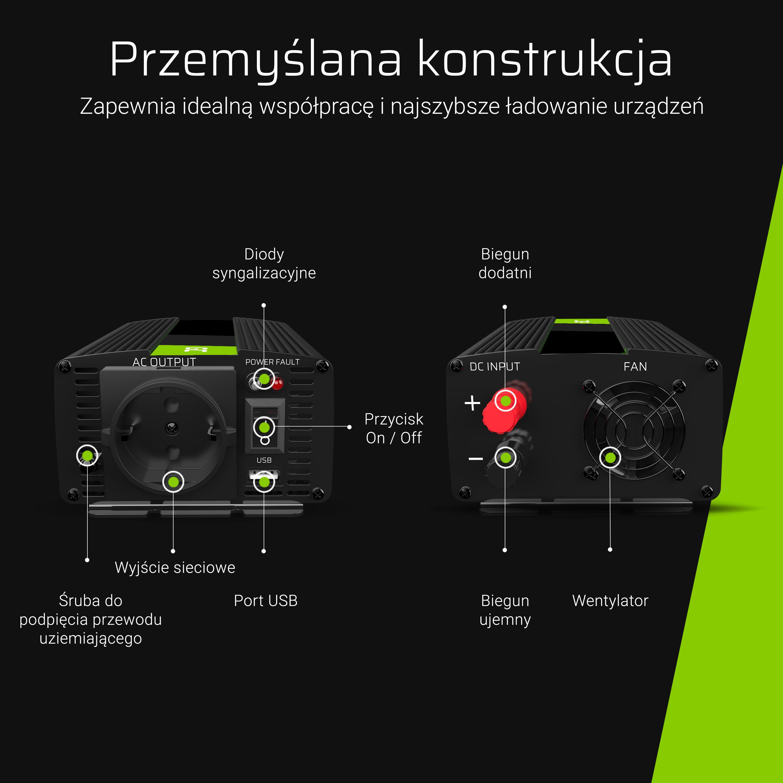 Green Cell ® Voltage Car Inverter 12V to 230V, 500W Full Sine Wave