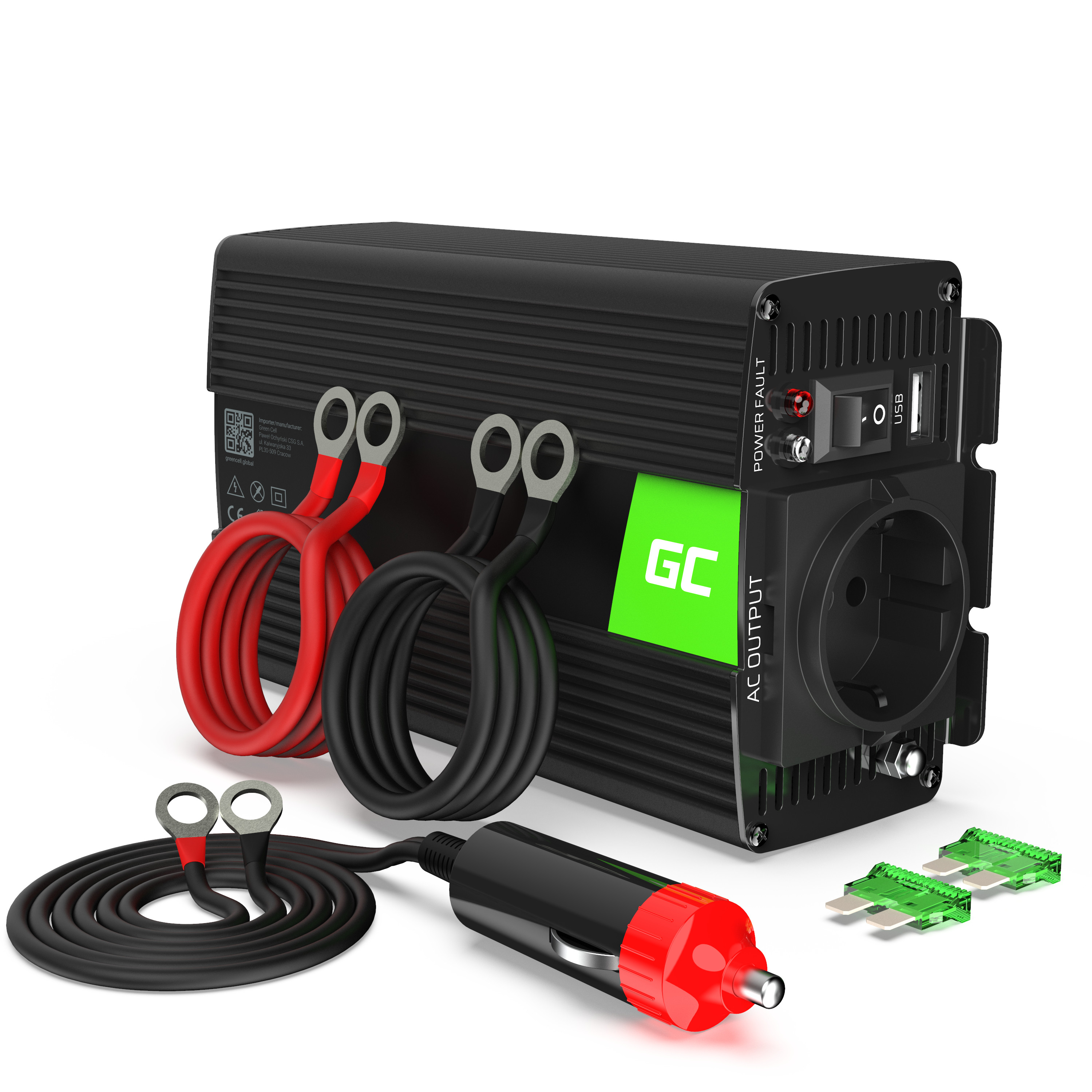 Green Cell ® Voltage Car Inverter 24V to 230V, 500W Full Sine Wave