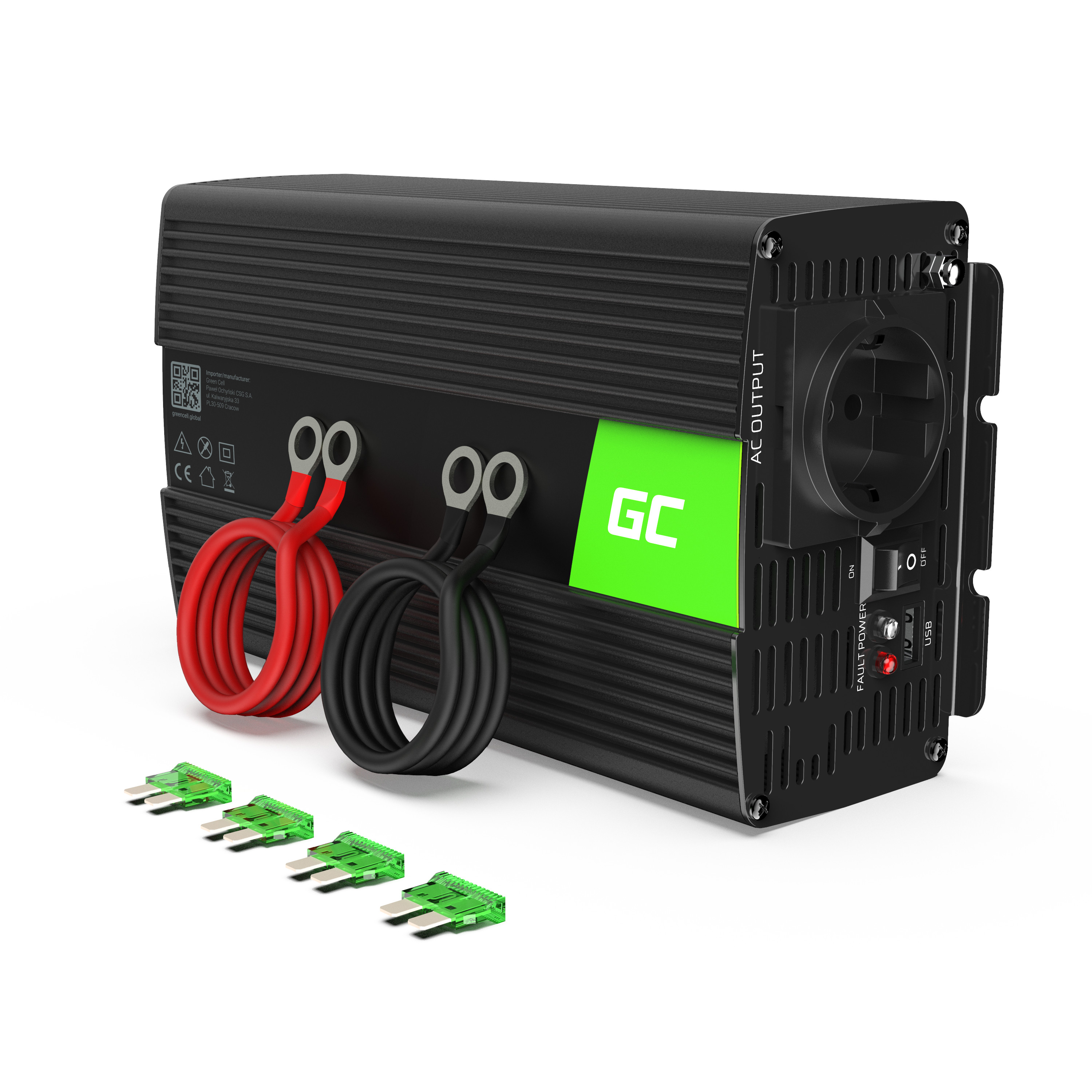 Green Cell ® Voltage Car Inverter 24V to 230V, 1000W Full Sine Wave