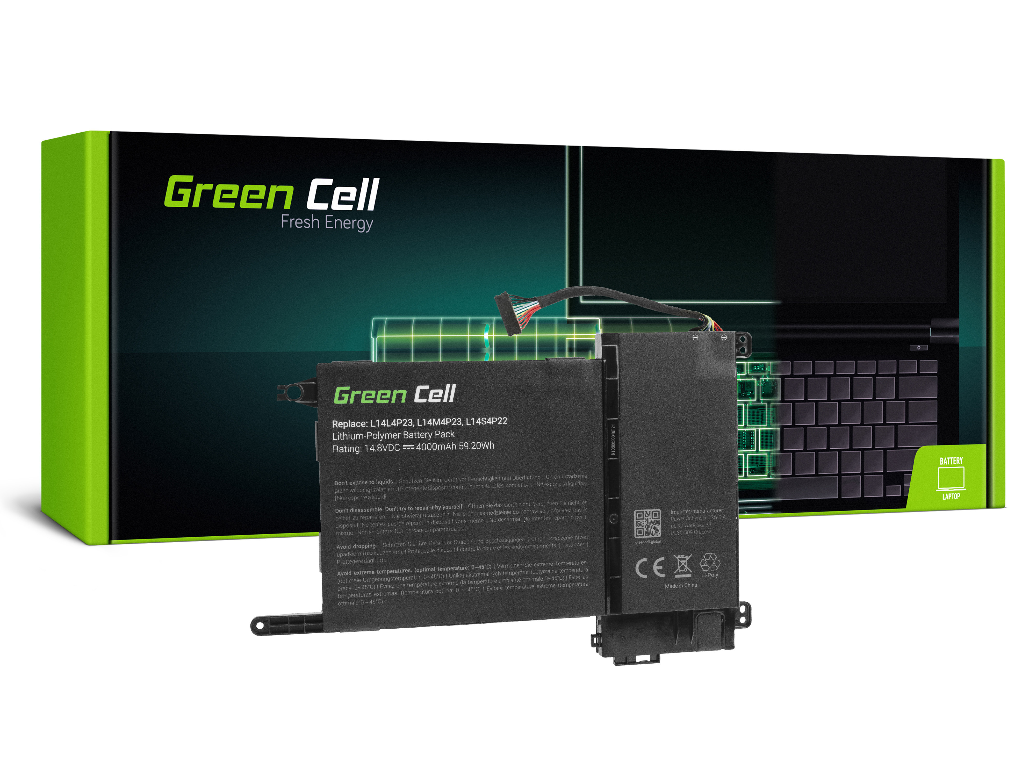 Green Cell LE100 Baterie Lenovo L14L4P23 L14M4P23 L14S4P22 Lenovo Y700-15ACZ Y700-15ISK Y700-17ISK 4000mAh Li-Pol – neoriginální
