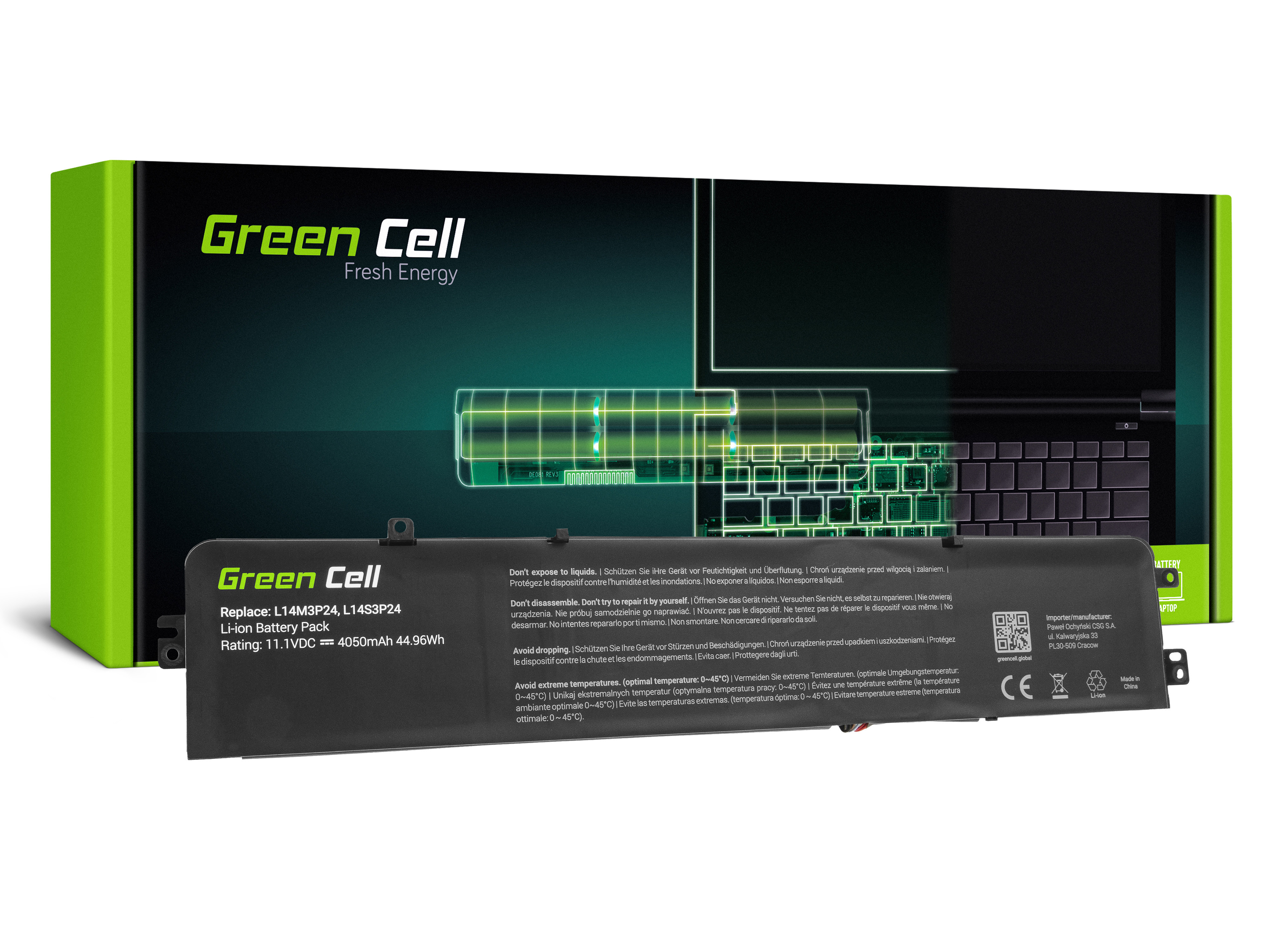 Green Cell LE102 Baterie IBM L14M3P24 L14S3P24 Lenovo 700-15ISK 700-17ISK Y700-14ISK Legion R720 Y520 4050mAh Li-Pol – neoriginální