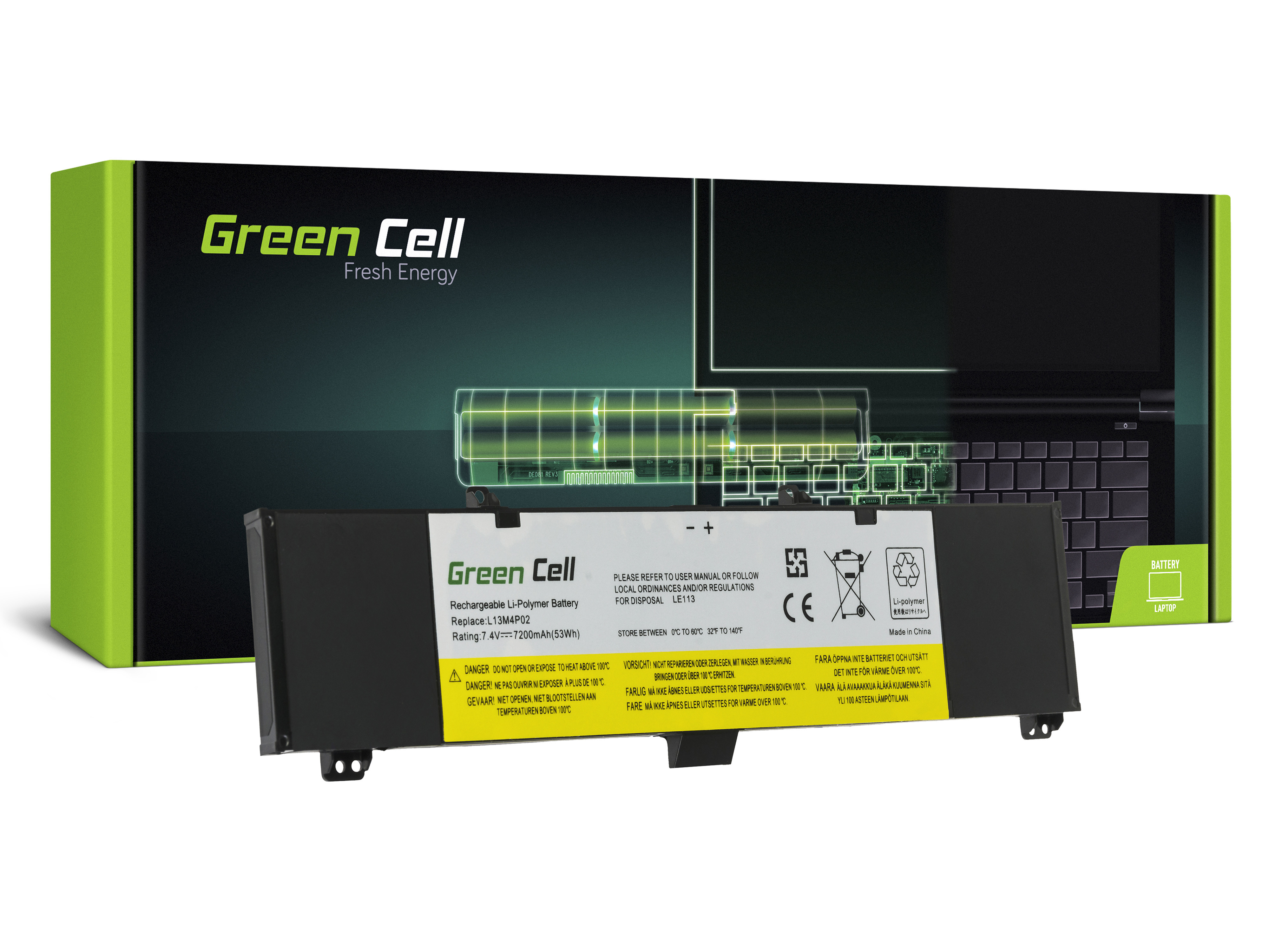 Green Cell LE113 Baterie Lenovo L13M4P02 pro Lenovo Y50 Y50-70 Y70 Y70-70 7200mAh Li-Pol - neoriginální