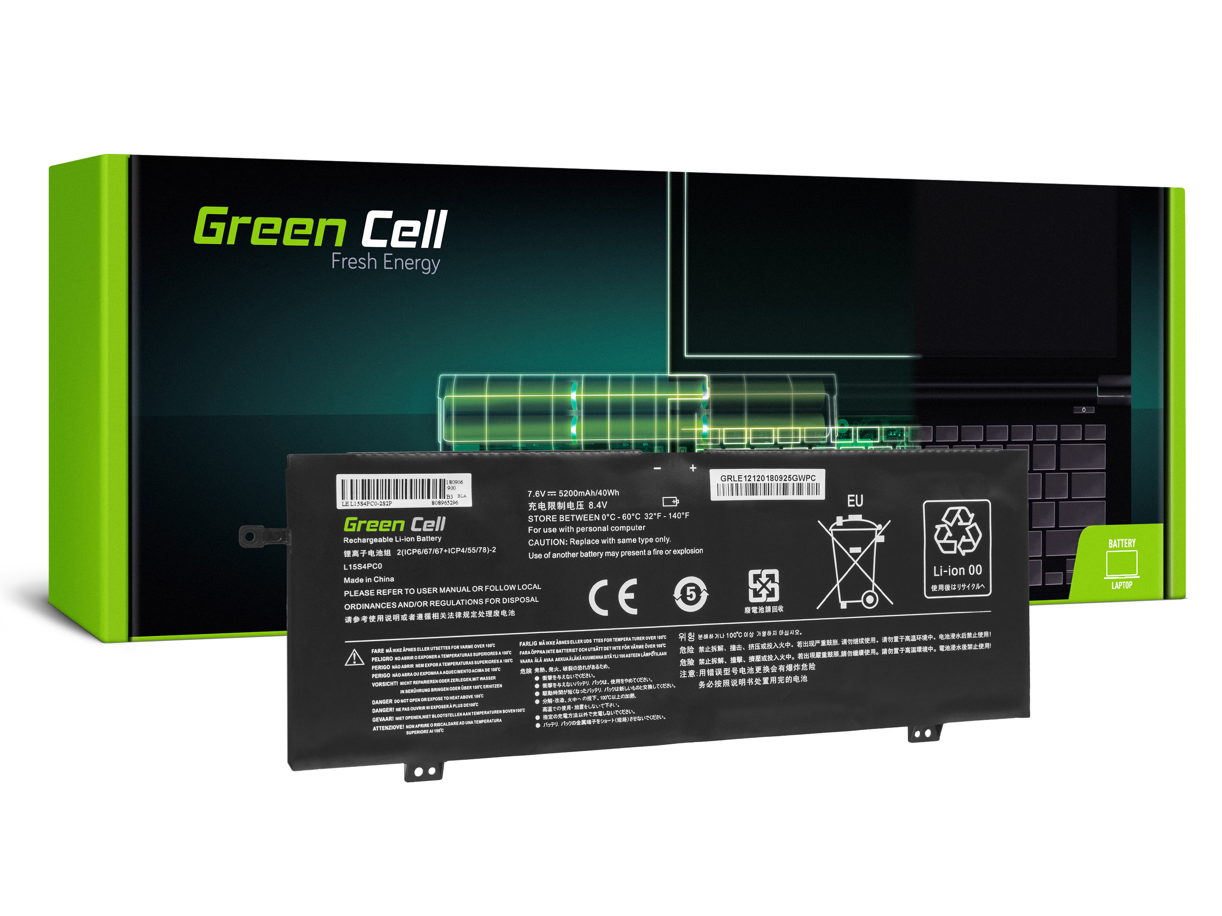 Green Cell Baterie pro Lenovo V730 V730-13 Ideapad 710s Plus 710s-13 / 7,6V 5200mAh