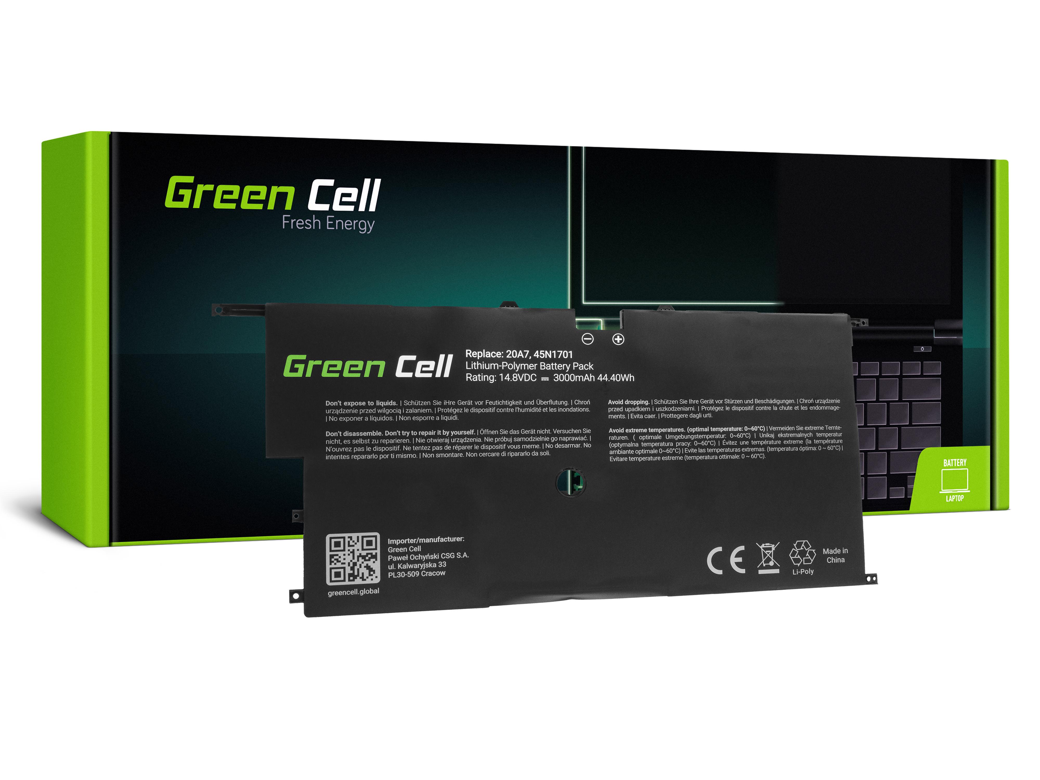 Green Cell LE122 Baterie Lenovo 45N1700 45N1701 45N1702 45N1703 Lenovo ThinkPad X1 Carbon 2nd Gen 3000mAh Li-Pol – neoriginální