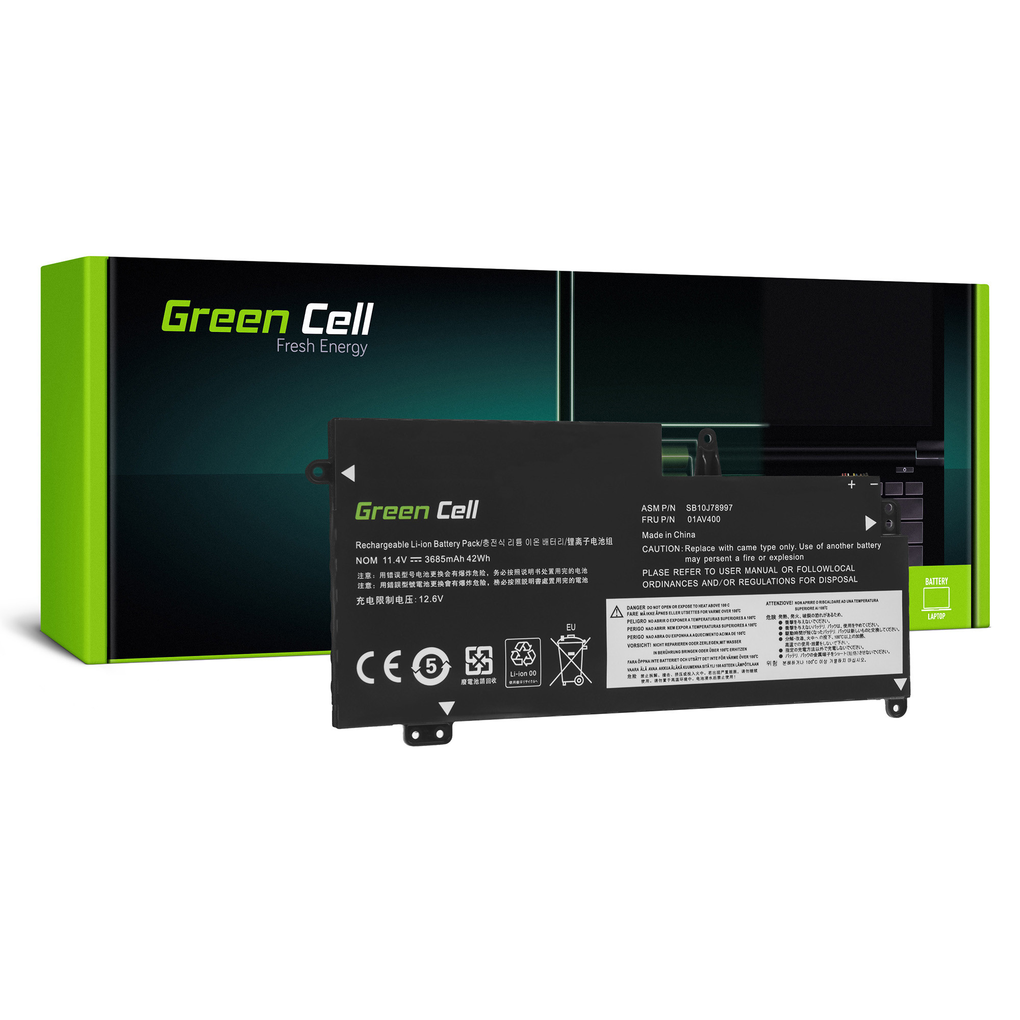 Green Cell LE129 Baterie Lenovo ThinkPad 13 3685mAh Li-Pol – neoriginální