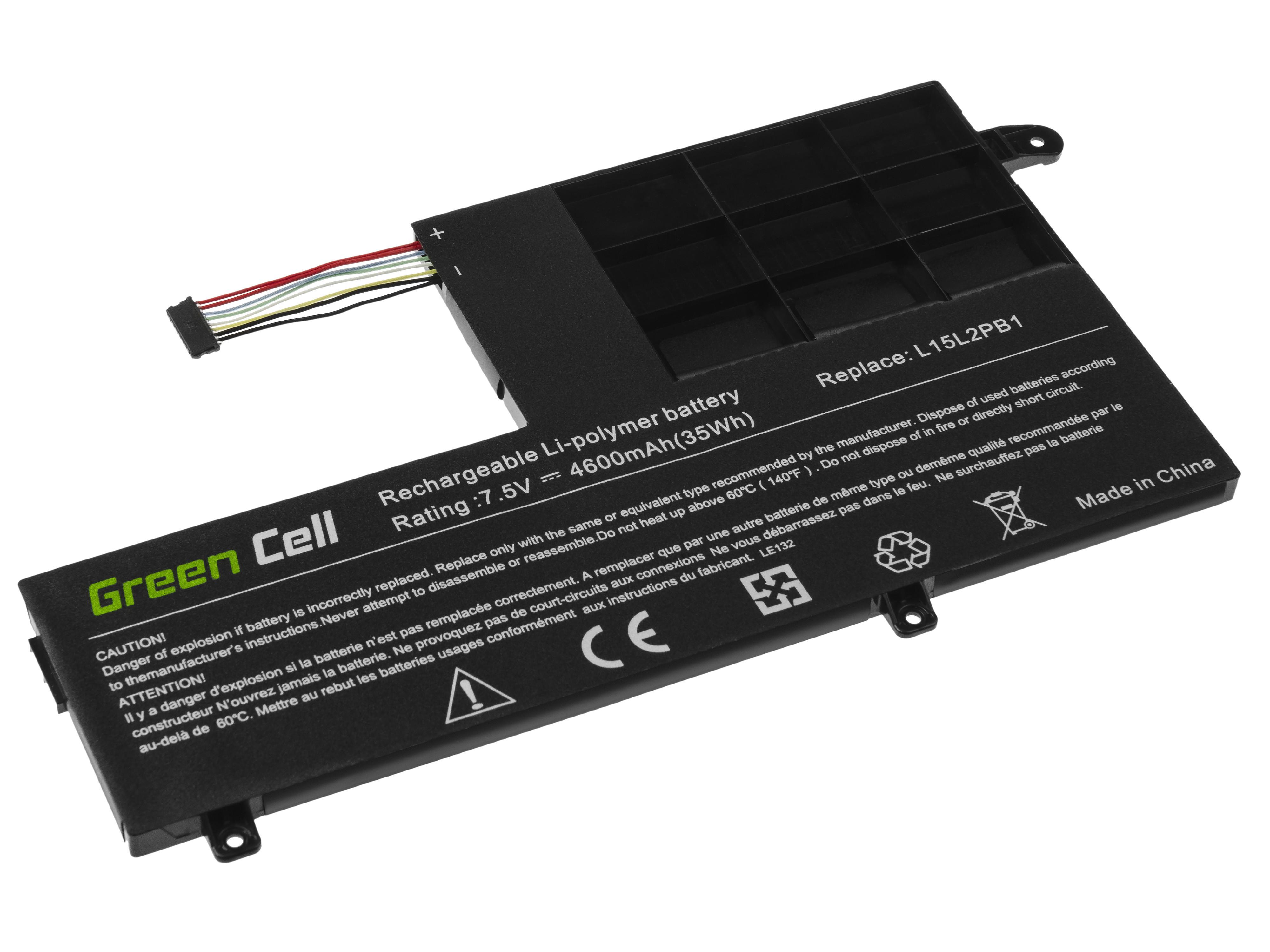 Green Cell LE132 Baterie Lenovo L15C2PB1 L15L2PB1 L15M2PB1,Lenovo Yoga 510-14IKB 510-14ISK 510-15IKB 510-15ISK 4600mAh Li-Pol – neoriginální