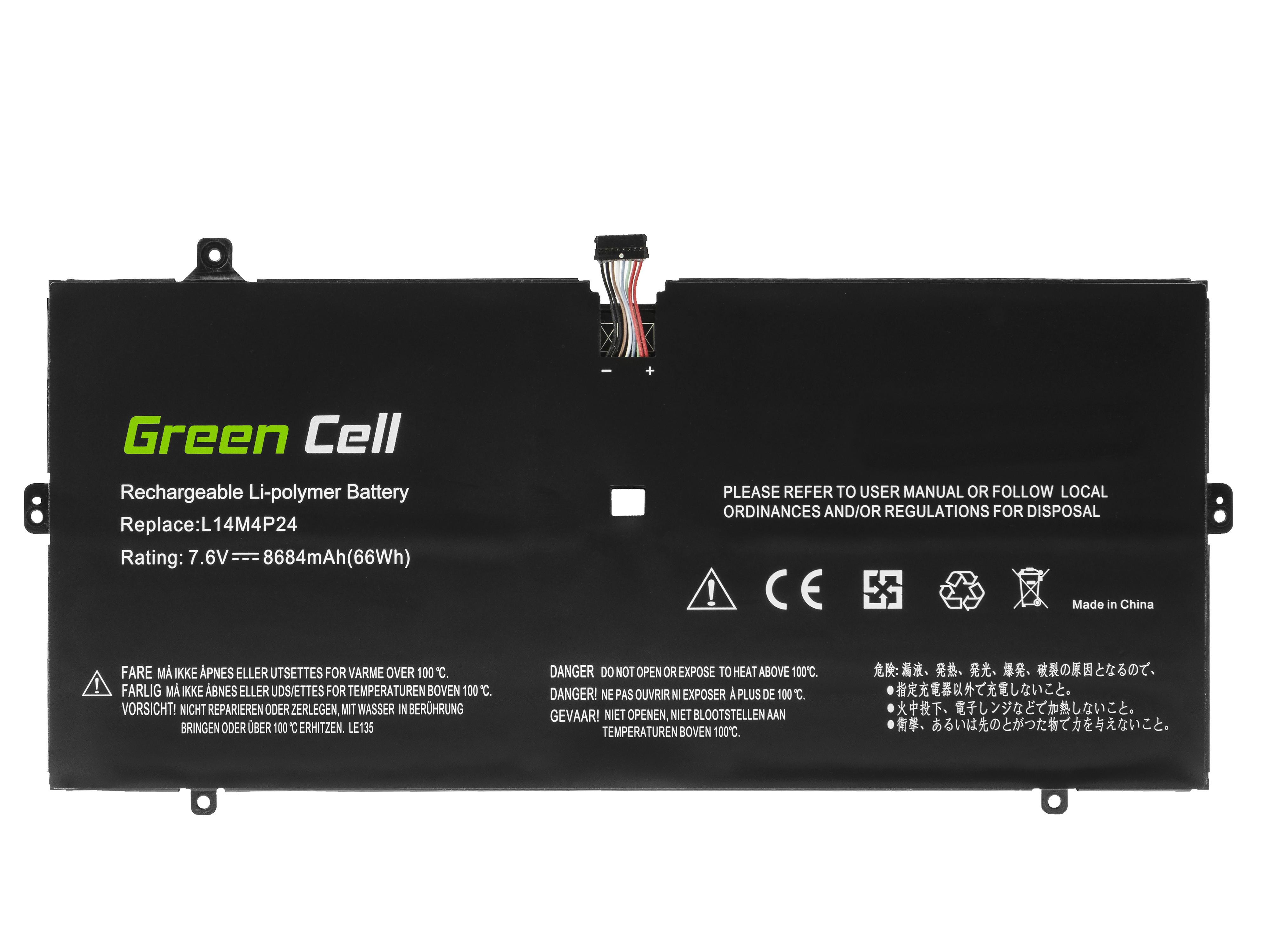 Green Cell LE135 Baterie Lenovo L14L4P24 pro Lenovo Yoga 900-13ISK 900-13ISK2 8684mAh Li-Pol – neoriginální