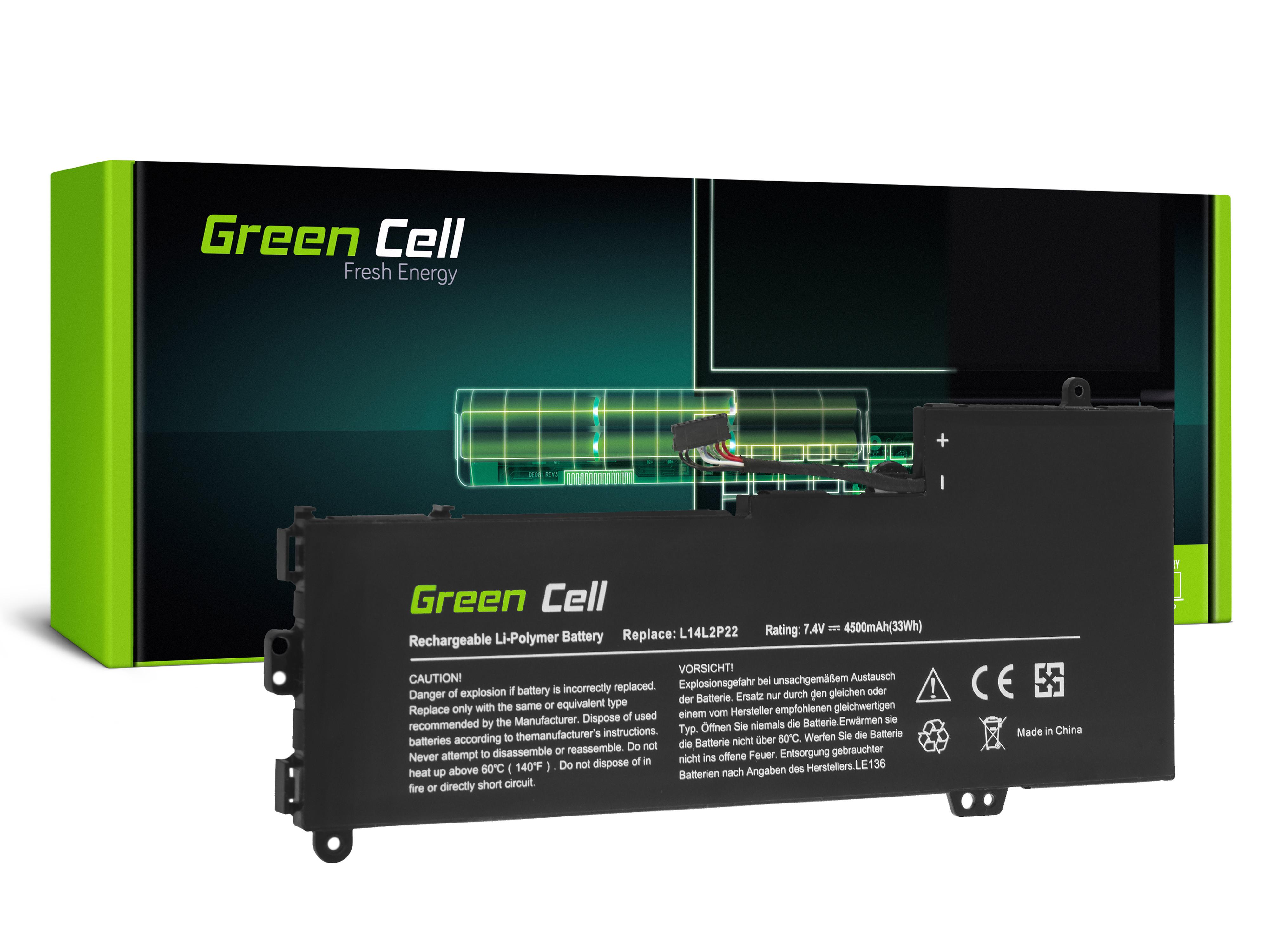 Green Cell LE136 Baterie Lenovo L14L2P22 L14M2P24 L14S2P22 pro Lenovo E31-70 E31-80 U31-70 IdeaPad 500s-13ISK 510s-13IKB 510s-13ISK 4500mAh Li-Pol – neoriginální