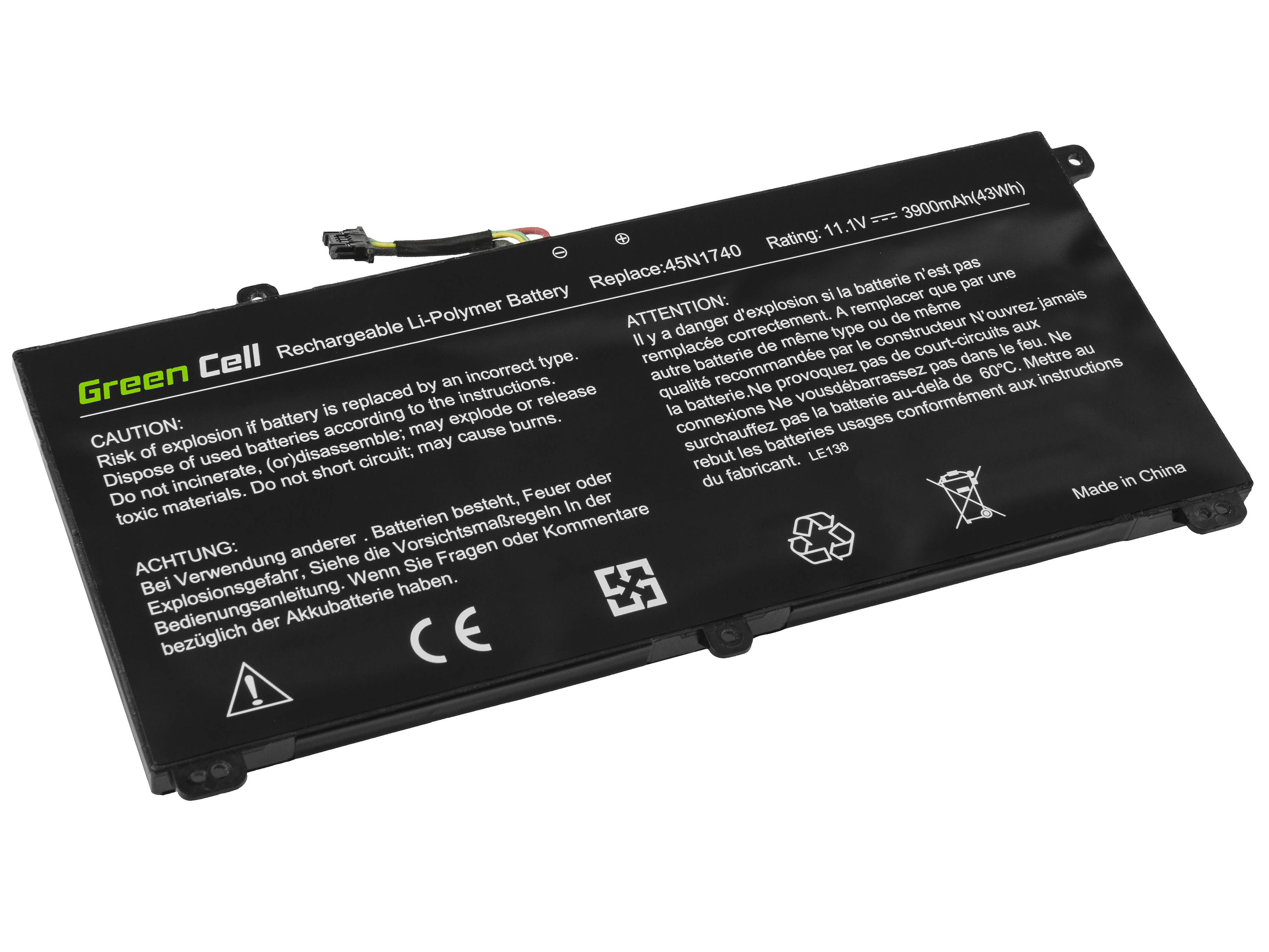 Green Cell LE138 Baterie Lenovo 45N1740,45N1741 pro Lenovo ThinkPad T550 T560 W550s P50s 3900mAh Li-Pol – neoriginální