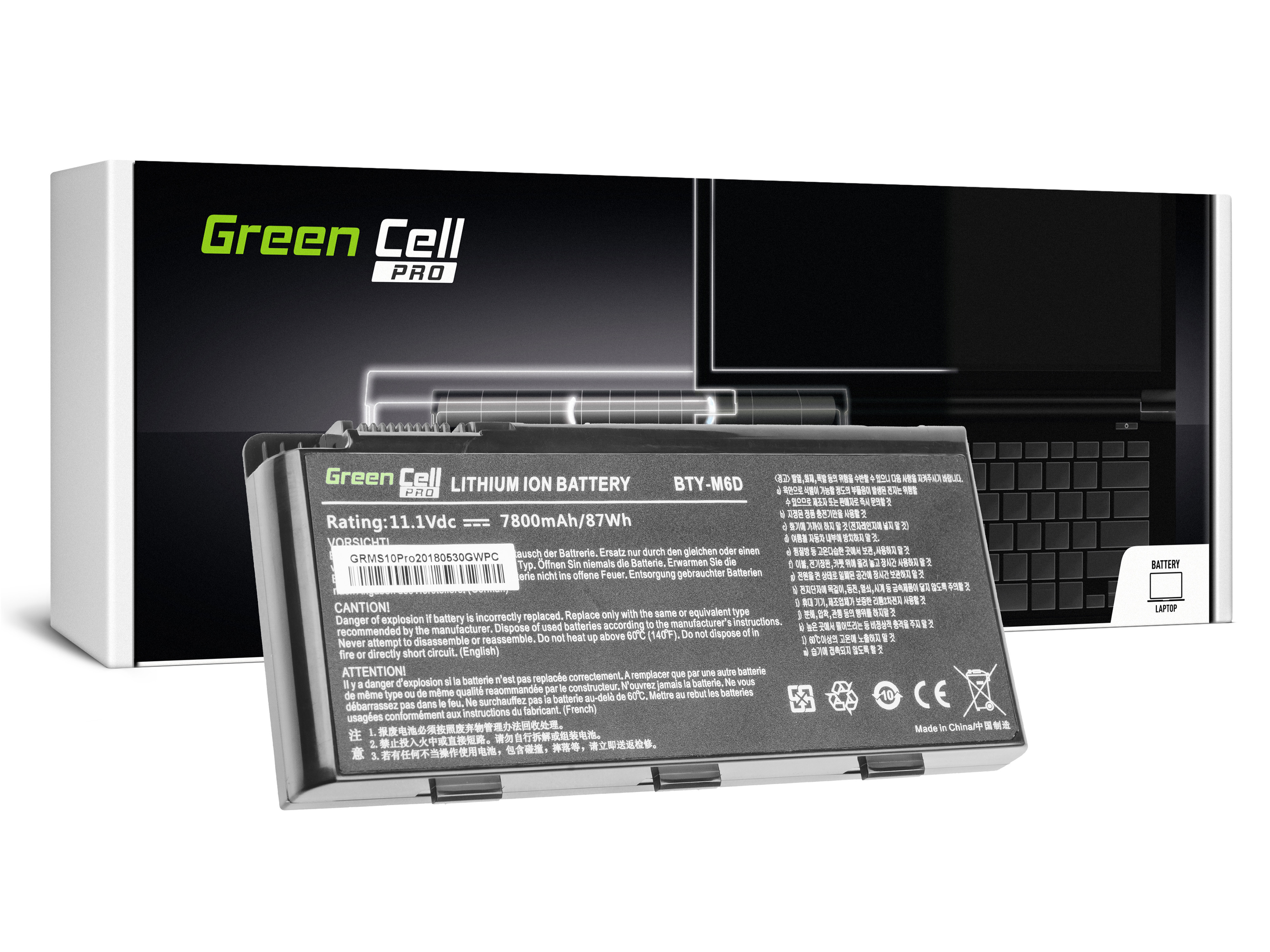 Green Cell MS10PRO Baterie MSI BTY-M6D do MSI GT60 GT70 GT660 GT680 GT683 GT780 GT783 GX660 GX680 GX780 7800mAh Li-ion - neoriginální