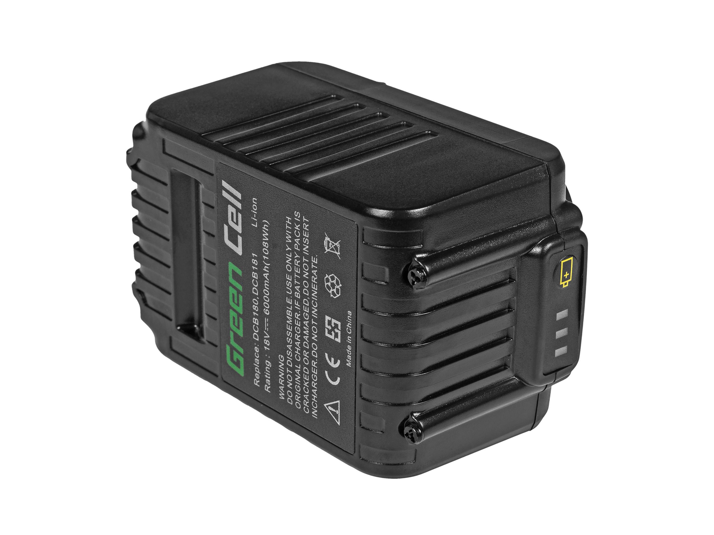 Green Cell Power Tool Battery Dewalt DCB184 DCB182 DCB180 18V 6Ah