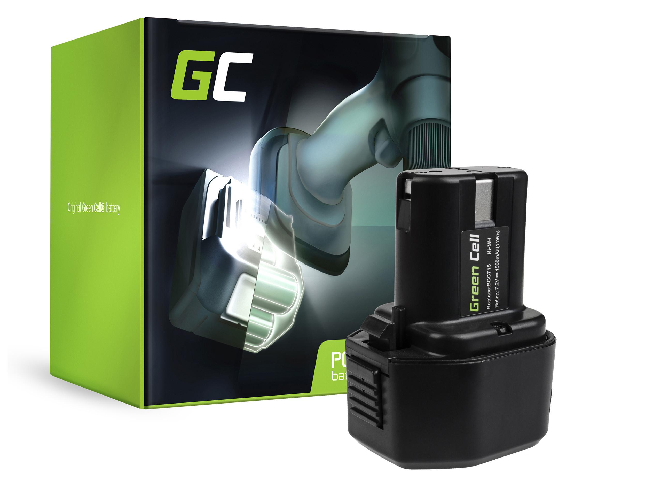 Green Cell Power Tool Battery 7.2V 1.5Ah BCC715 EB712S EB714S EB7 for Hitachi NR90GC NR90GR
