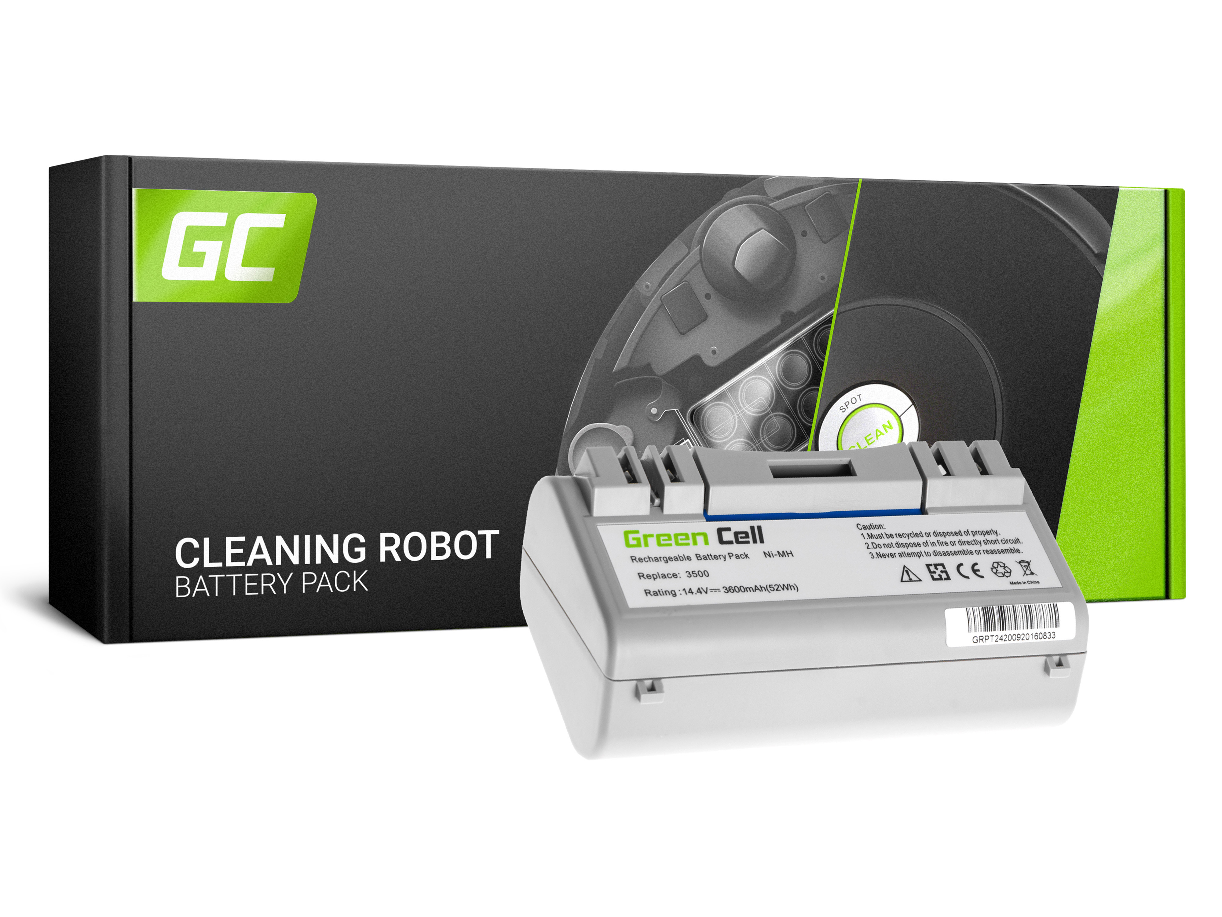Baterie Green Cell iRobot Scooba 5900 300 350 390 14.4V 3500mAh Ni-MH – neoriginální
