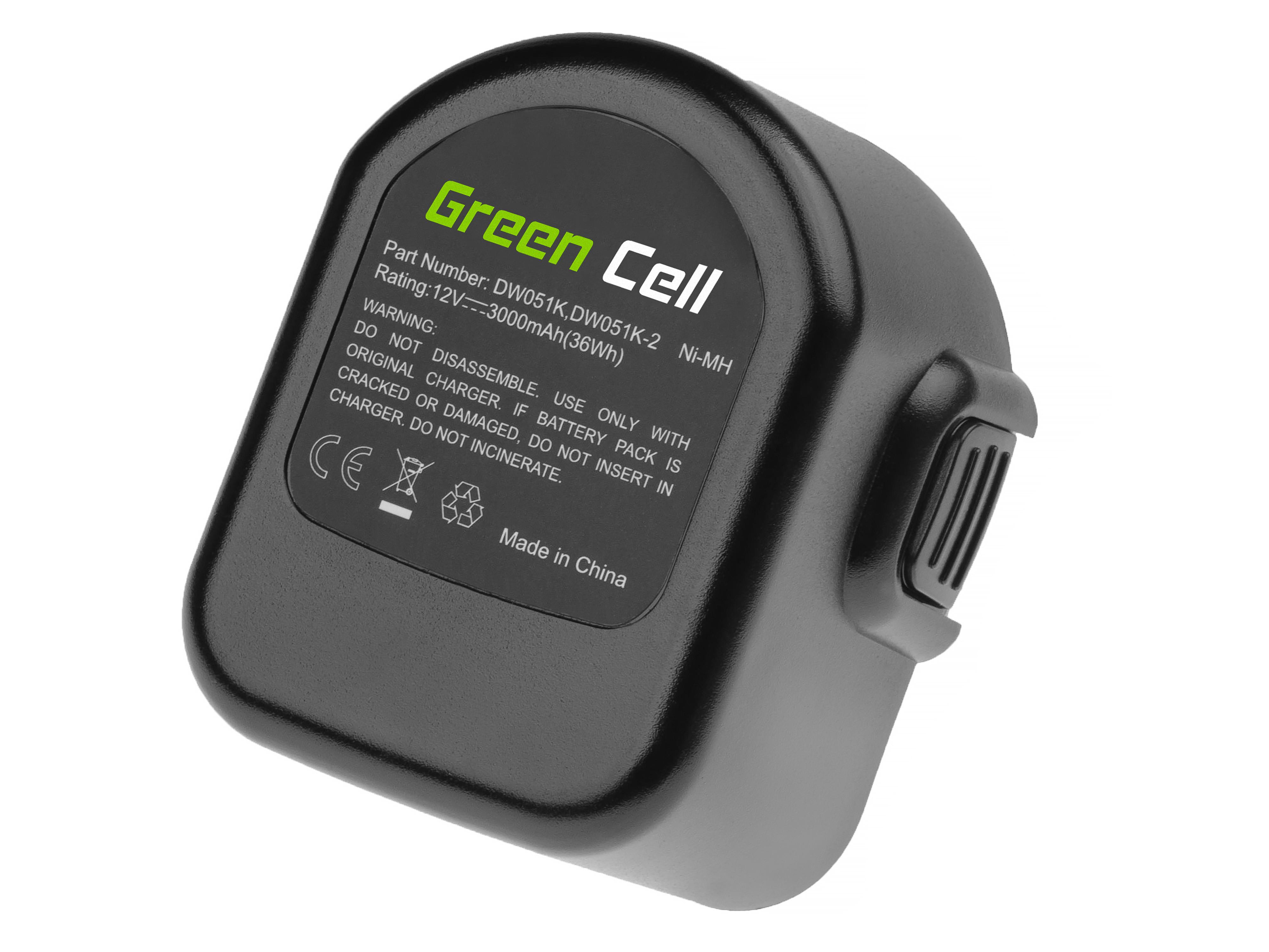 Green Cell PT52 Baterie Dewalt A9252 A9275 DE9037 DE9071 DE9074 DE9075,DeWalt/Black&Decker KC120V KC1262F CD12C CD12CA 3000mAh Ni-MH – neoriginální