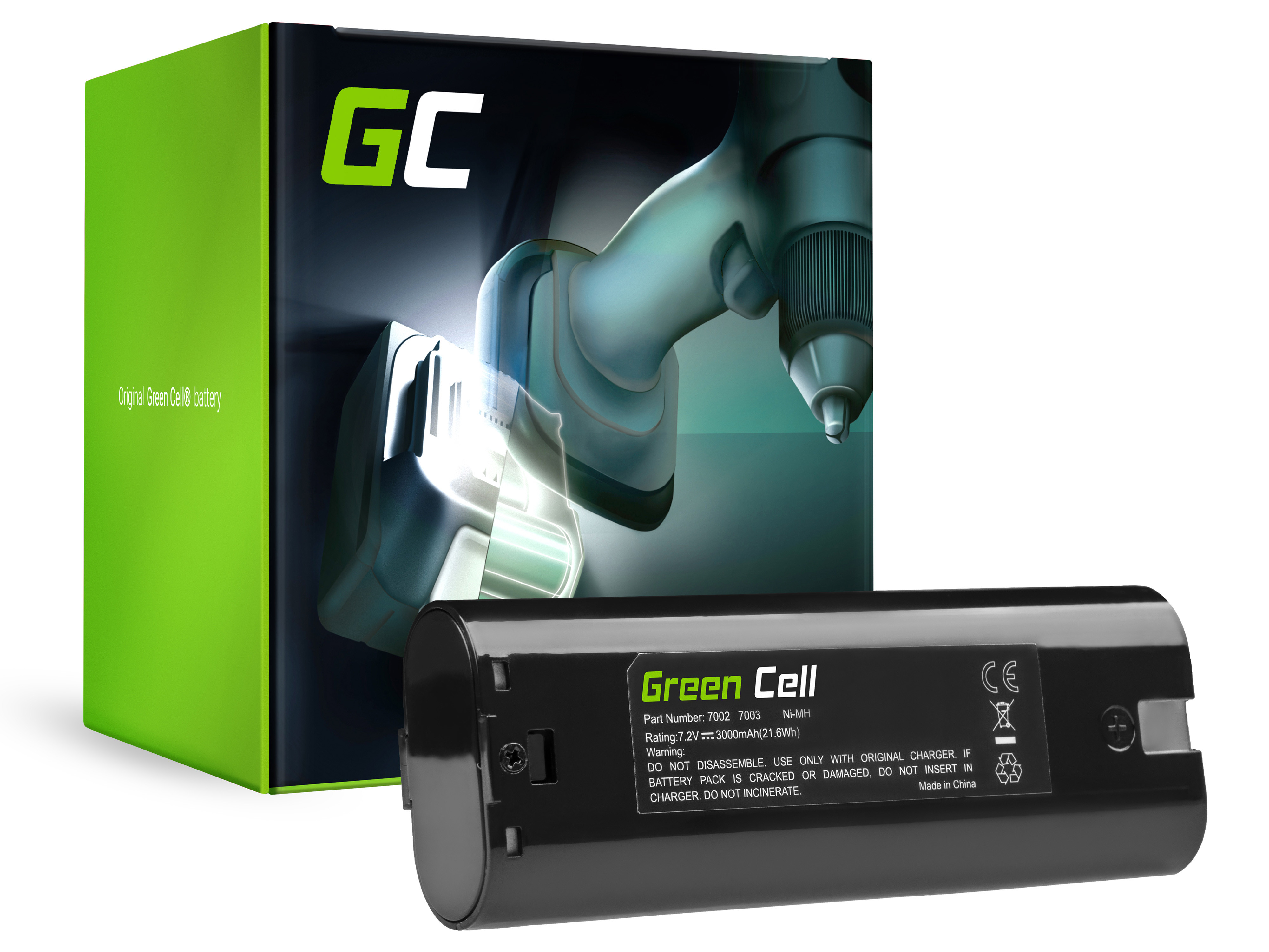 Baterie Green Cell Makita ML700 ML701 ML702 3700D 4071D 6002D 6072D 9035D 9500D 3000mAh 7.2V 3000mAh Ni-MH – neoriginální