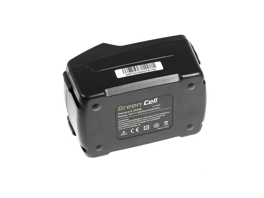 Baterie Green Cell Baterie Metabo 625341000   625342000   625343000   625457000   625591000   625592000   625596000 18V 3000mAh Li-ion - neoriginální