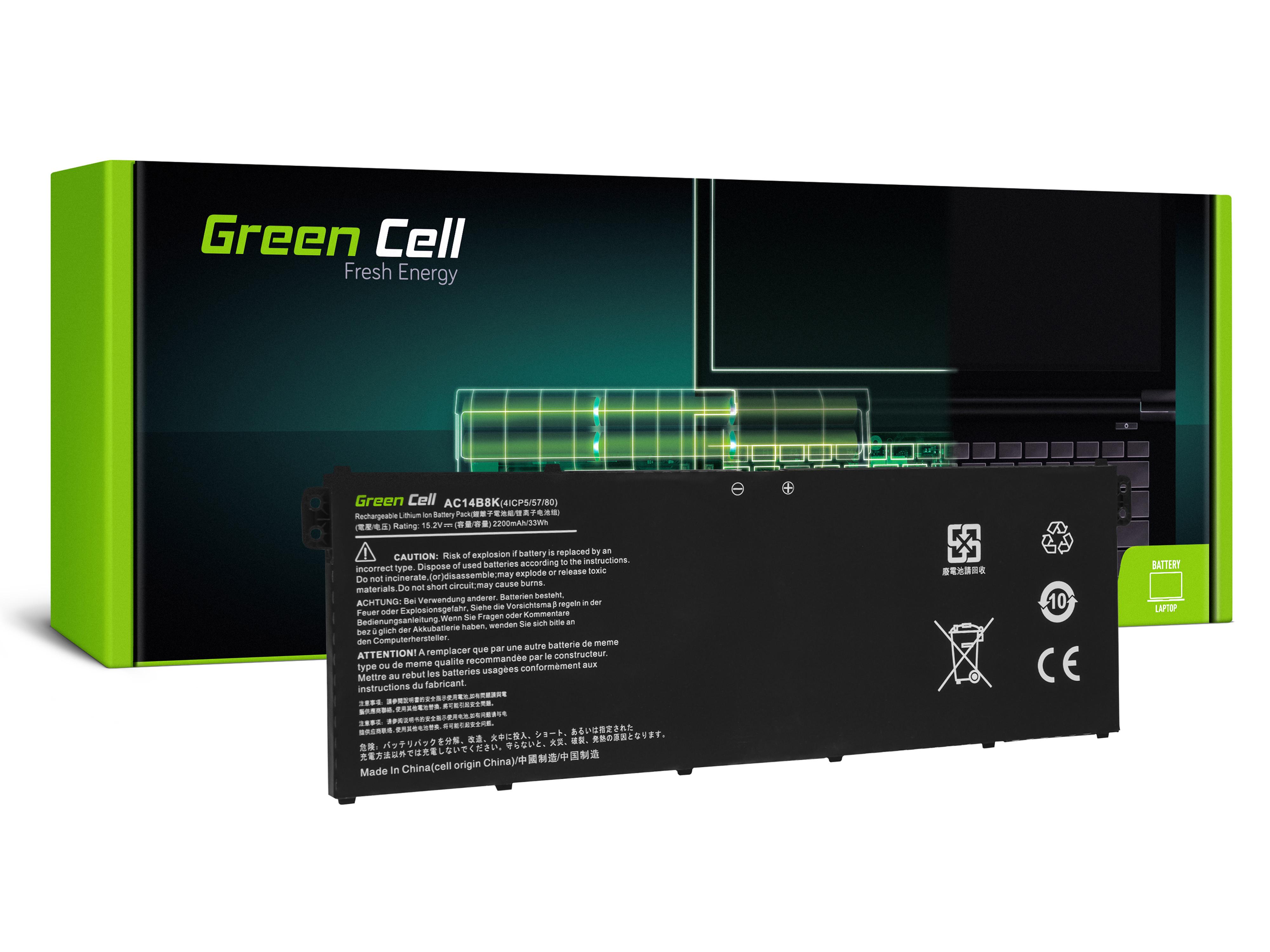 Bateria Green Cell AC14B3K AC14B8K do Acer Aspire 5 A515 A517 R15 R5-571T Spin 3 SP315-51 SP513-51 Swift 3 SF314-52