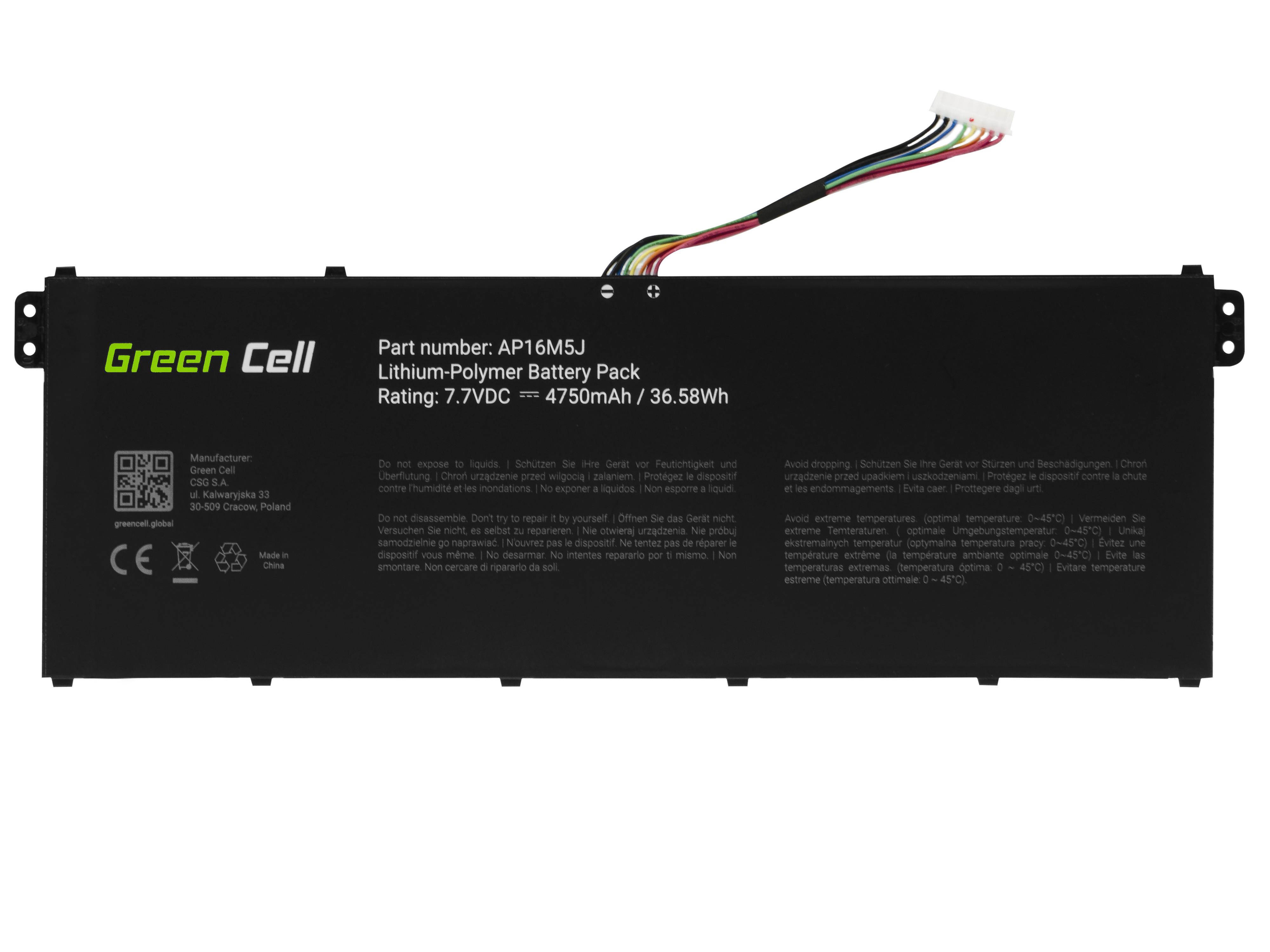 Green Cell AC73 Baterie Acer AP16M5J Acer Aspire 3 A315 A315-31 A315-42 A315-51 A317-51 Aspire 1 A114-31 4750mAh Li-Pol – neoriginální