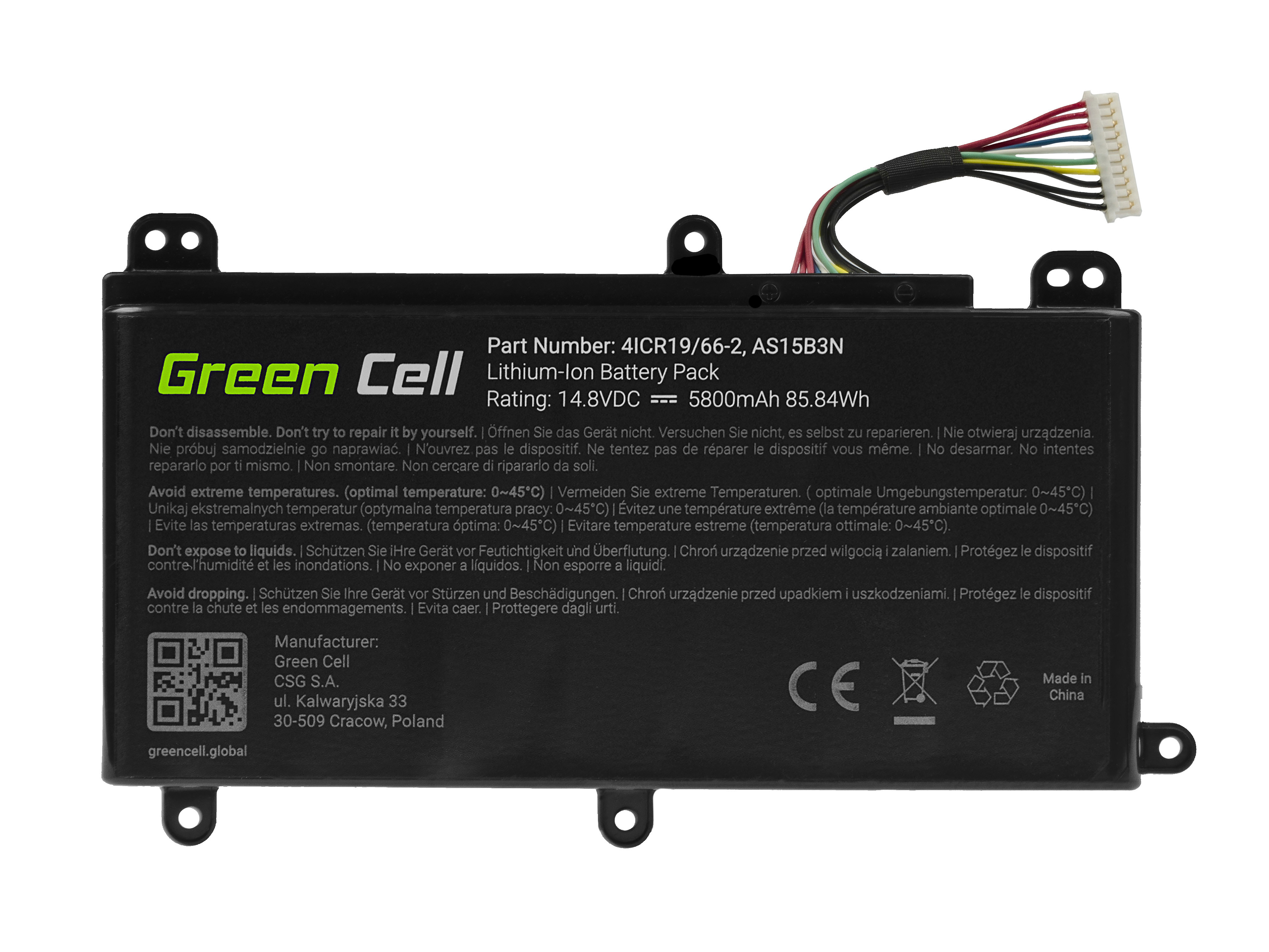 Green Cell AC74 Baterie Acer AS15B3N Acer Predator 15 G9-591 G9-592 G9-593 17 G9-791 G9-792 G9-793 17X GX-791 GX-792 21X 5800mAh Li-Pol – neoriginální