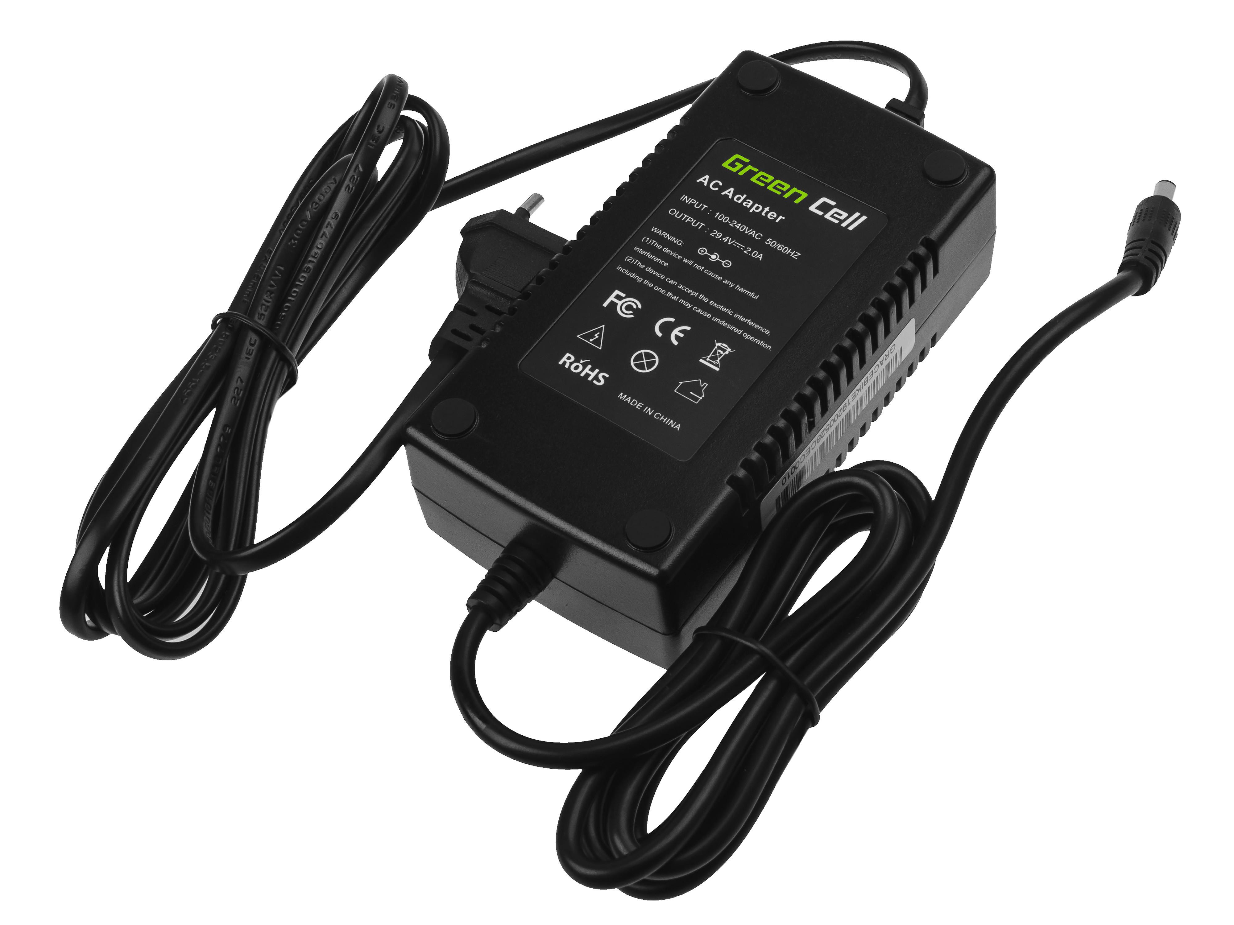 Green Cell® 29.4V 2A Ebike Charger for 24V Li-Ion Battery 5.5*2.1mm Plug EU Version