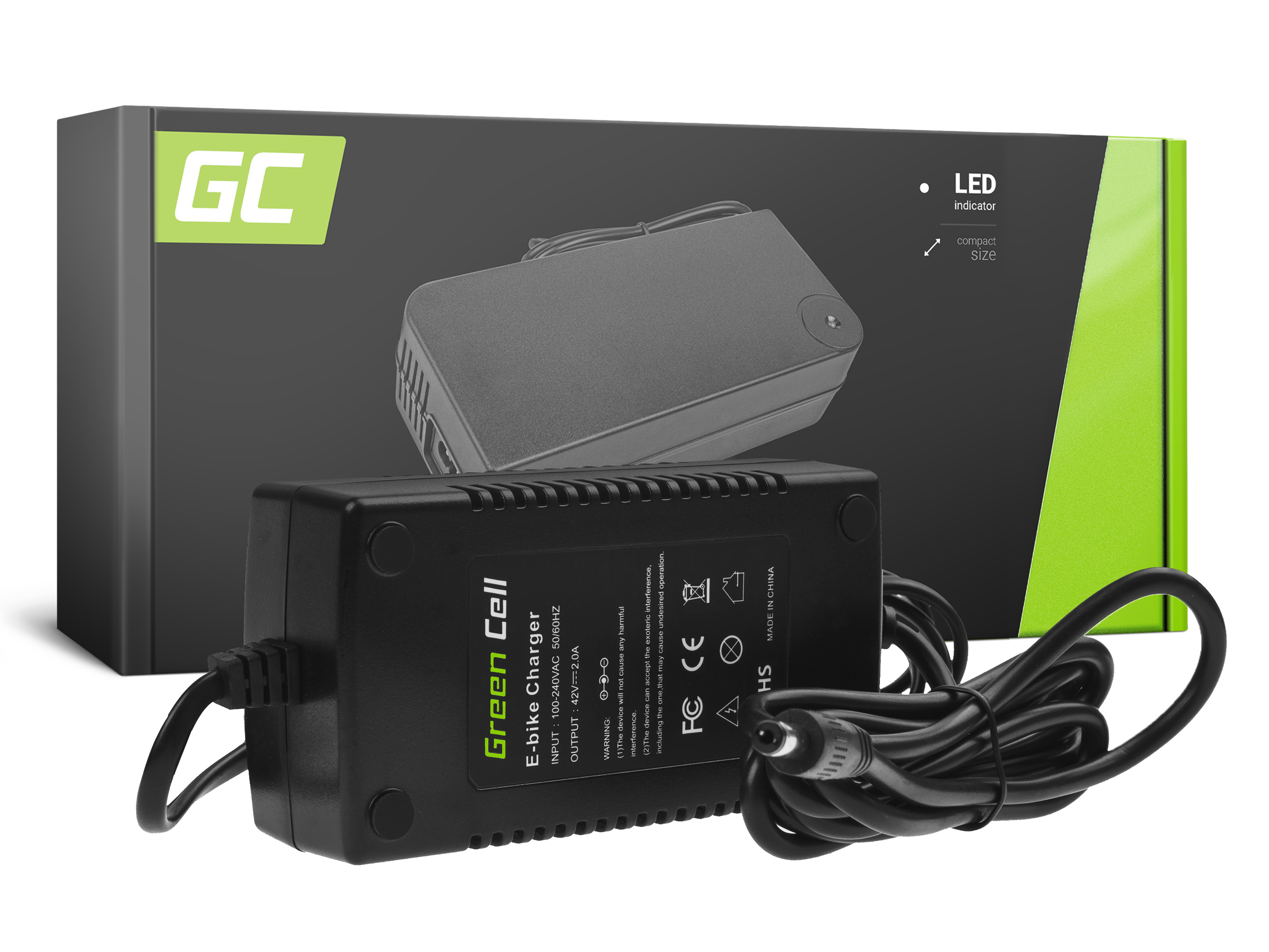 Green Cell ACEBIKE20 Adaptér Nabíječka E-Bike 42V 2A Li-Ion 5.5*2.1mm