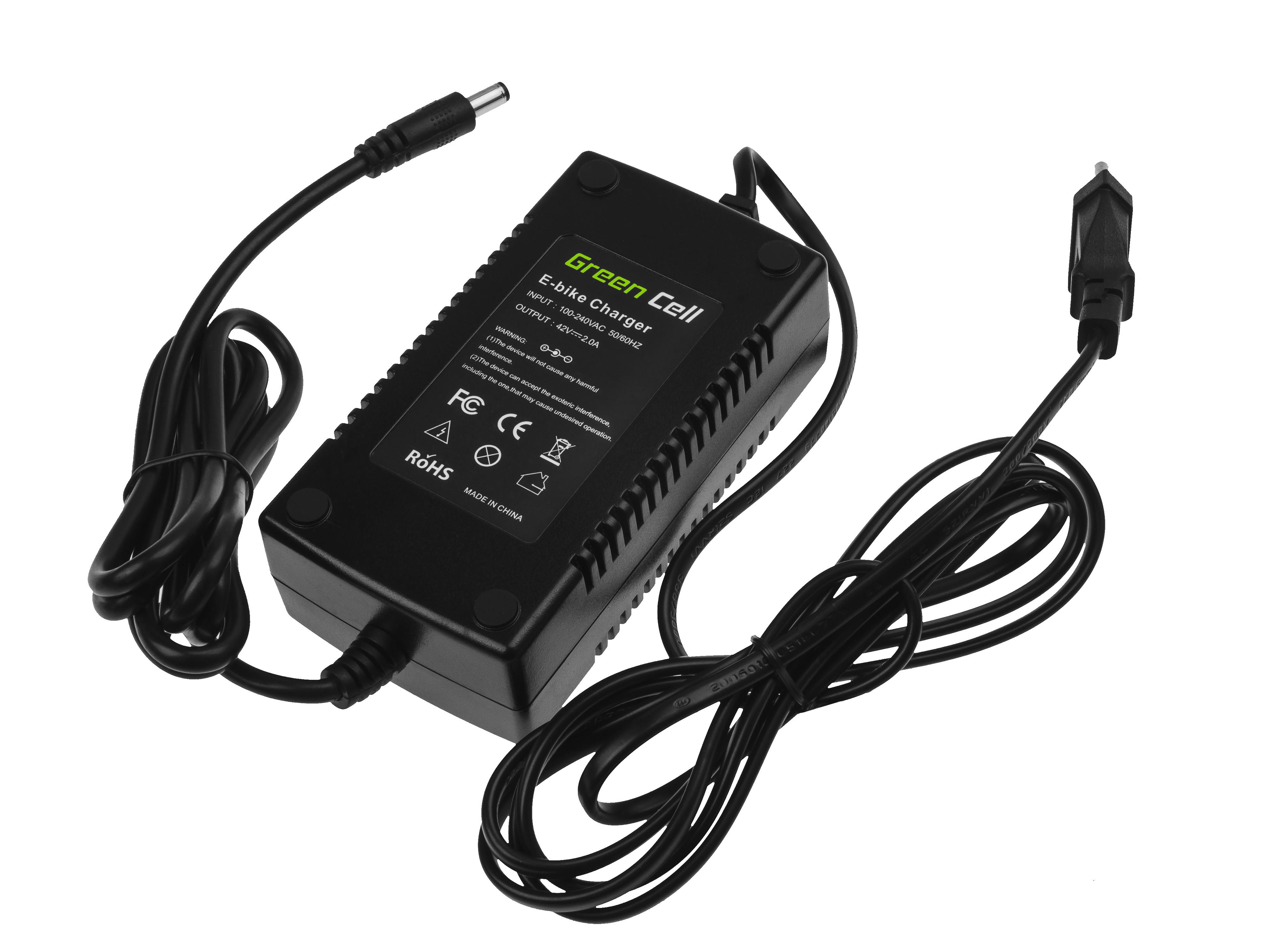 Green Cell® 36V E-Bike charger 42V 2A Li-Ion 5.5*2.1mm
