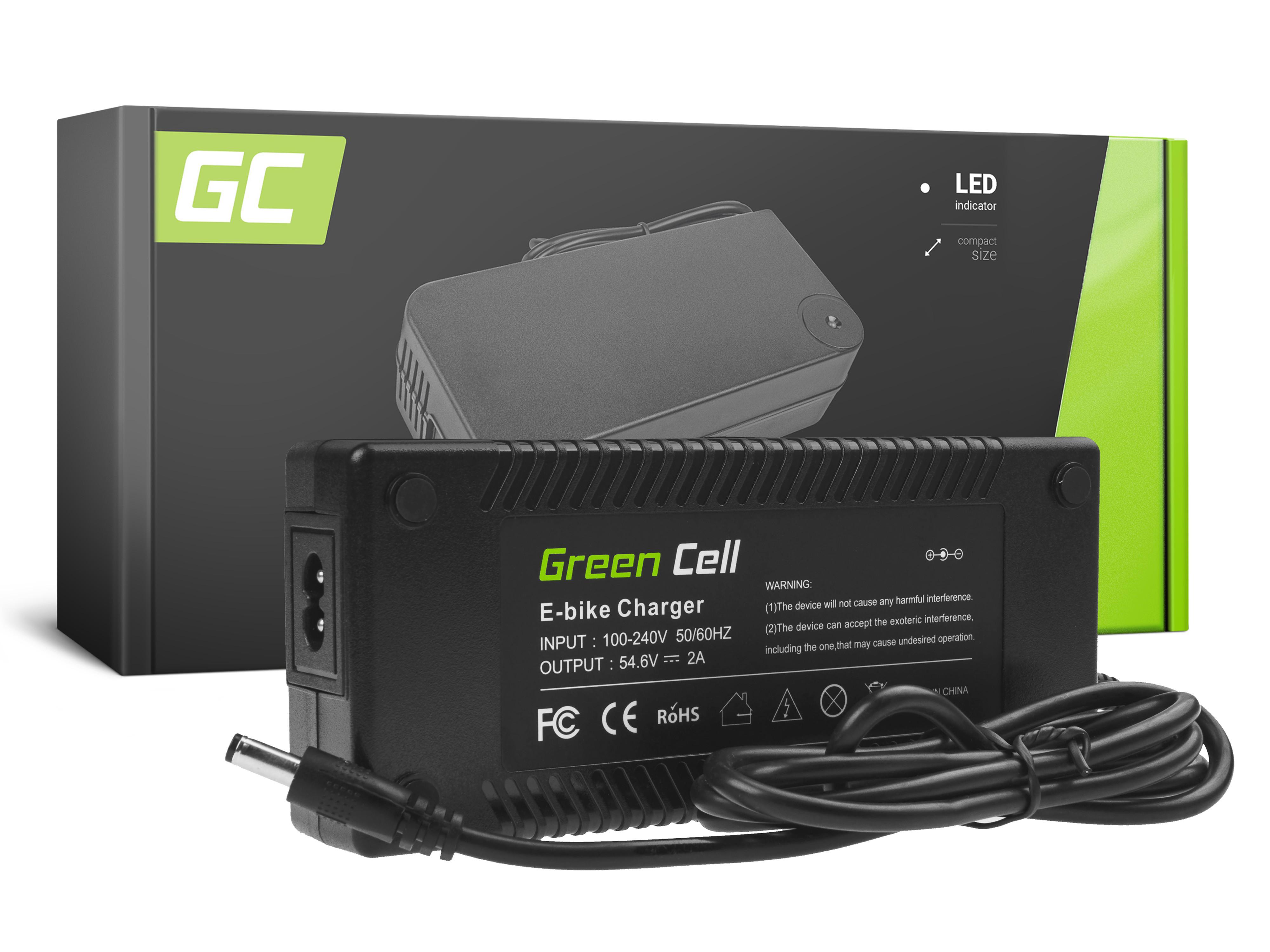 Green Cell Charger 48V E-Bike 54.6V 2A Li-Ion 5.5*2.1mm