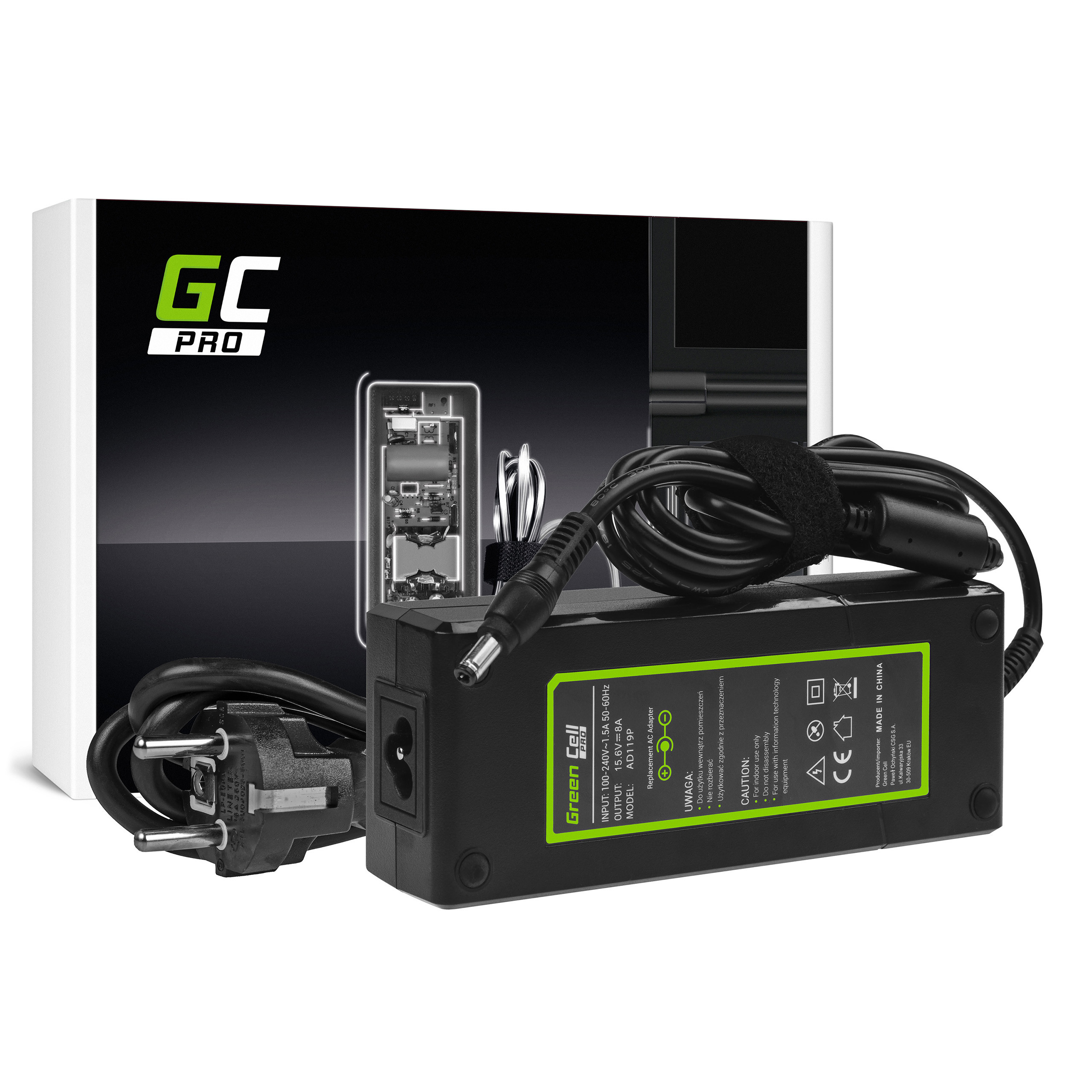 Charger Green Cell PRO 15.6V 8A CF-AA1683A for Panasonic ToughBook CF-19 CF-29 CF-30 CF-31 CF-50 CF-51 CF-52 CF-53 CF-73 CF-74