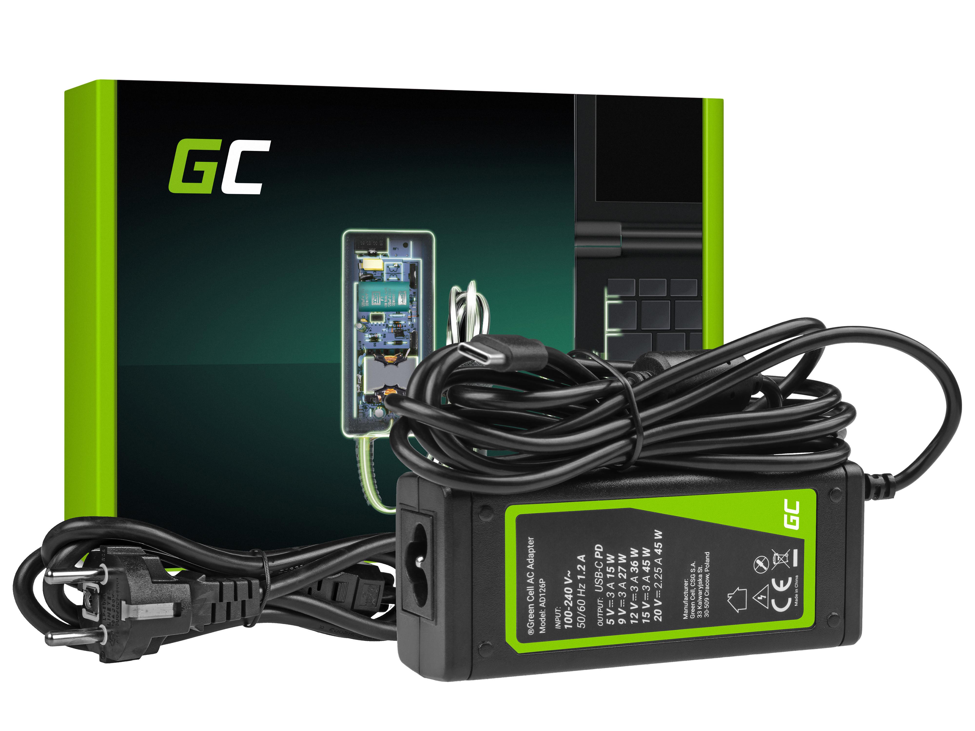 Green Cell AD126P Nabíječka adaptér USB-C 45W pro Notebooky, tablety, mobily