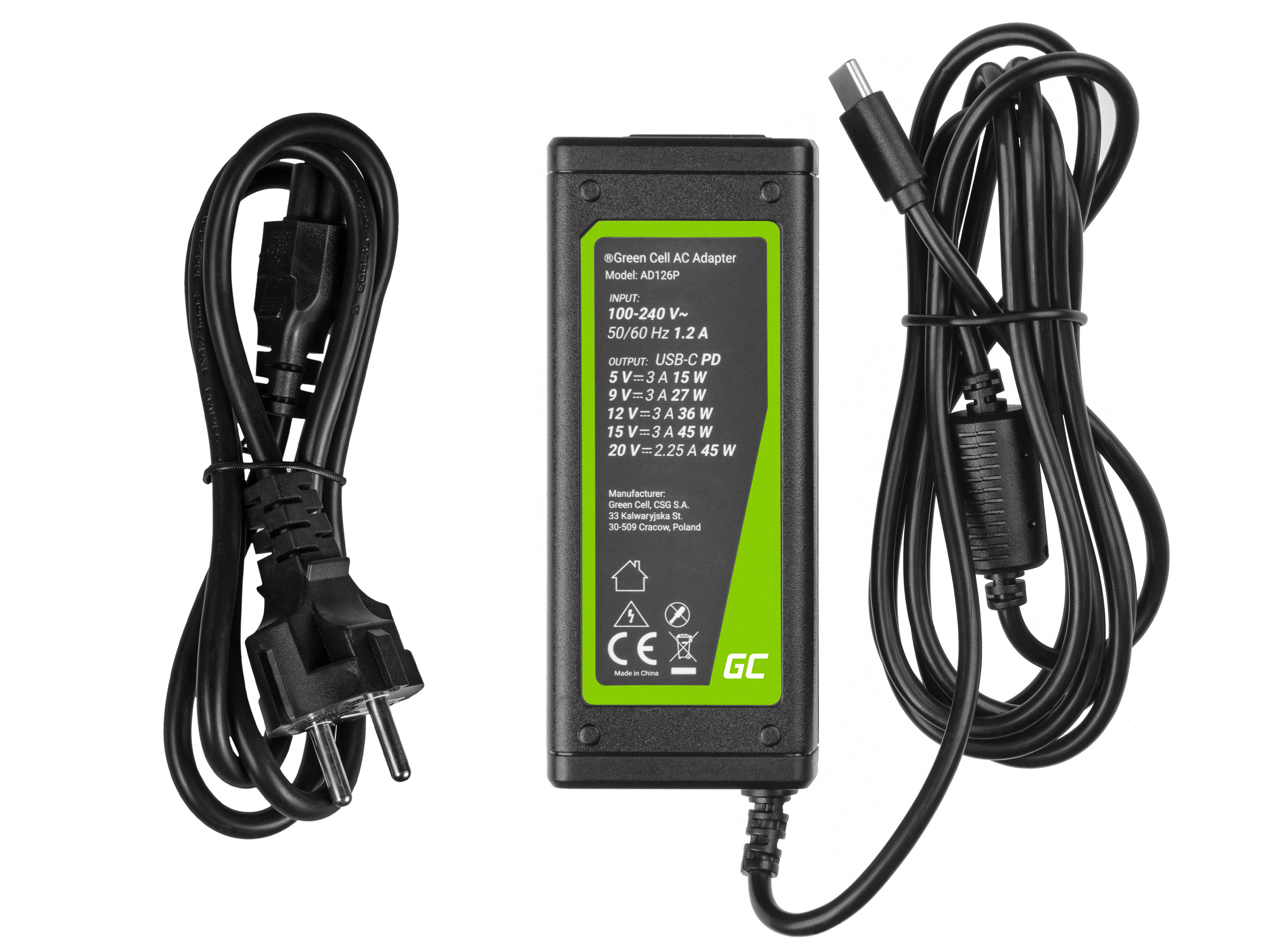 Green Cell Type-C AC adapter for laptops, phones and tablets 45W
