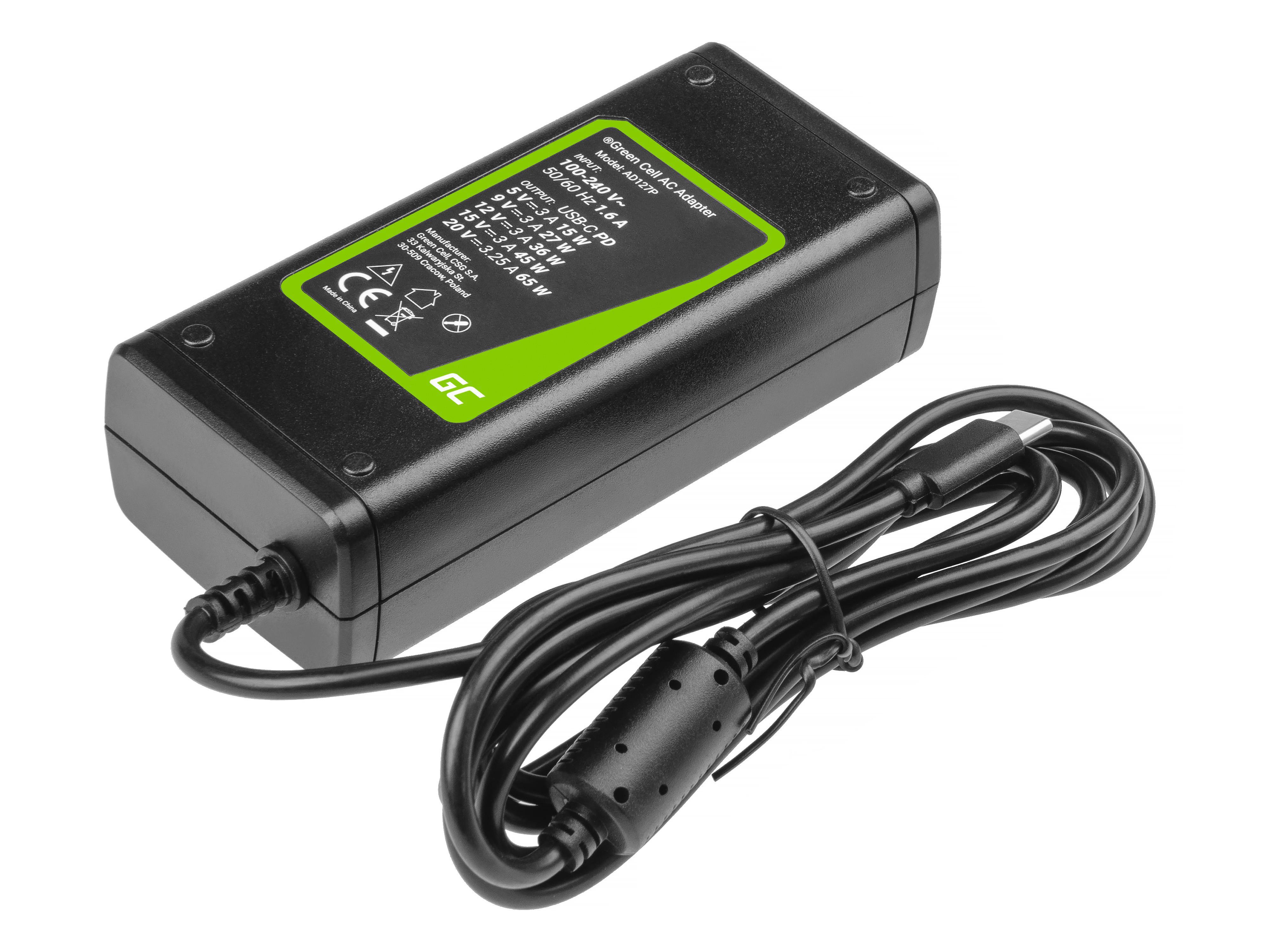 Green Cell AD127P Adaptér Nabíječka pro notebooky, tablety a mobilní telefony USB-C 65W