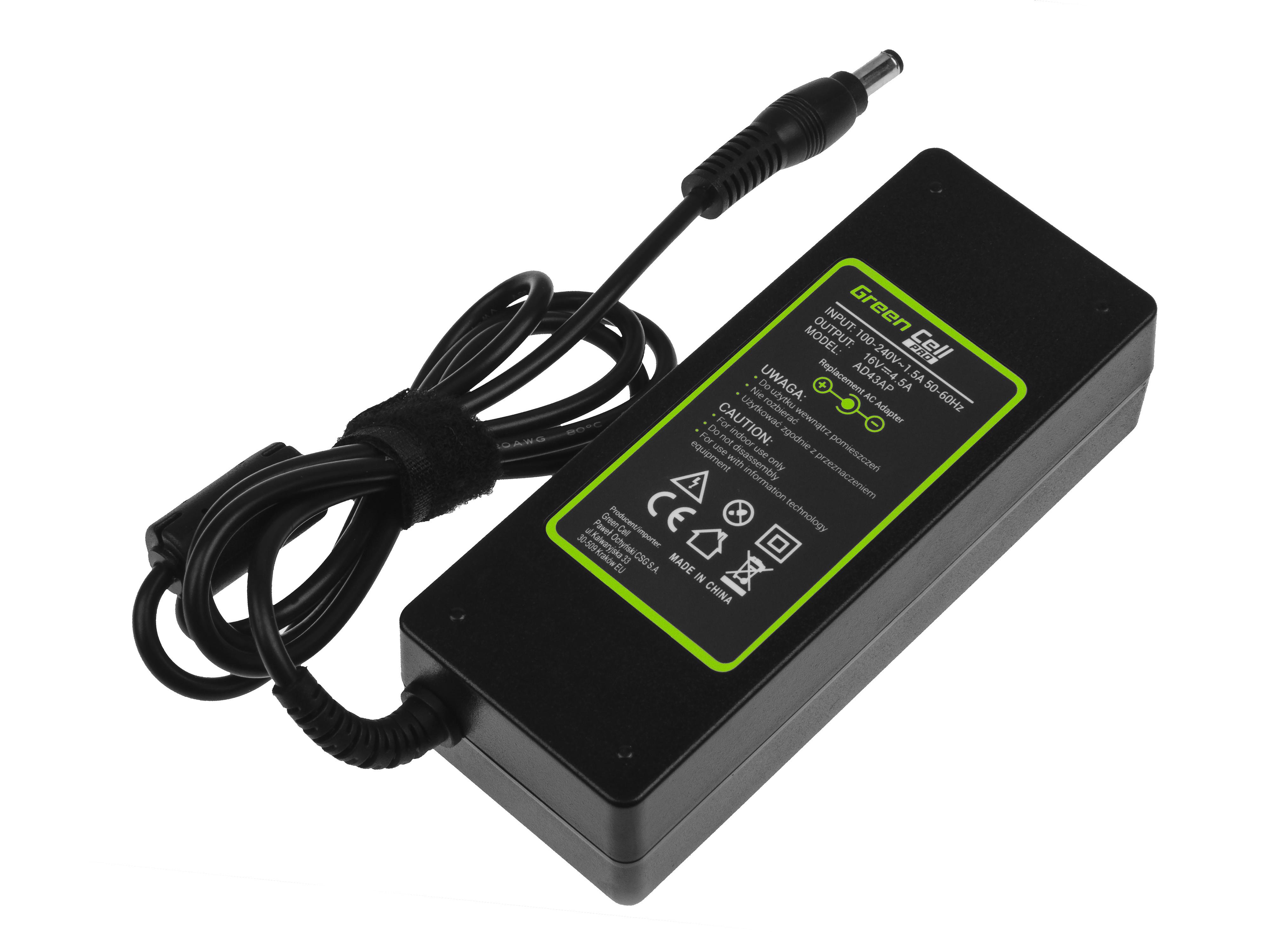 Green Cell AD43AP Adapter Nabíječka 16V 4.5A pro Lenovo IBM ThinkPad T40 T41 T42 T43 R50 R51 | 72W | konektor 5.5mm-2.5mm