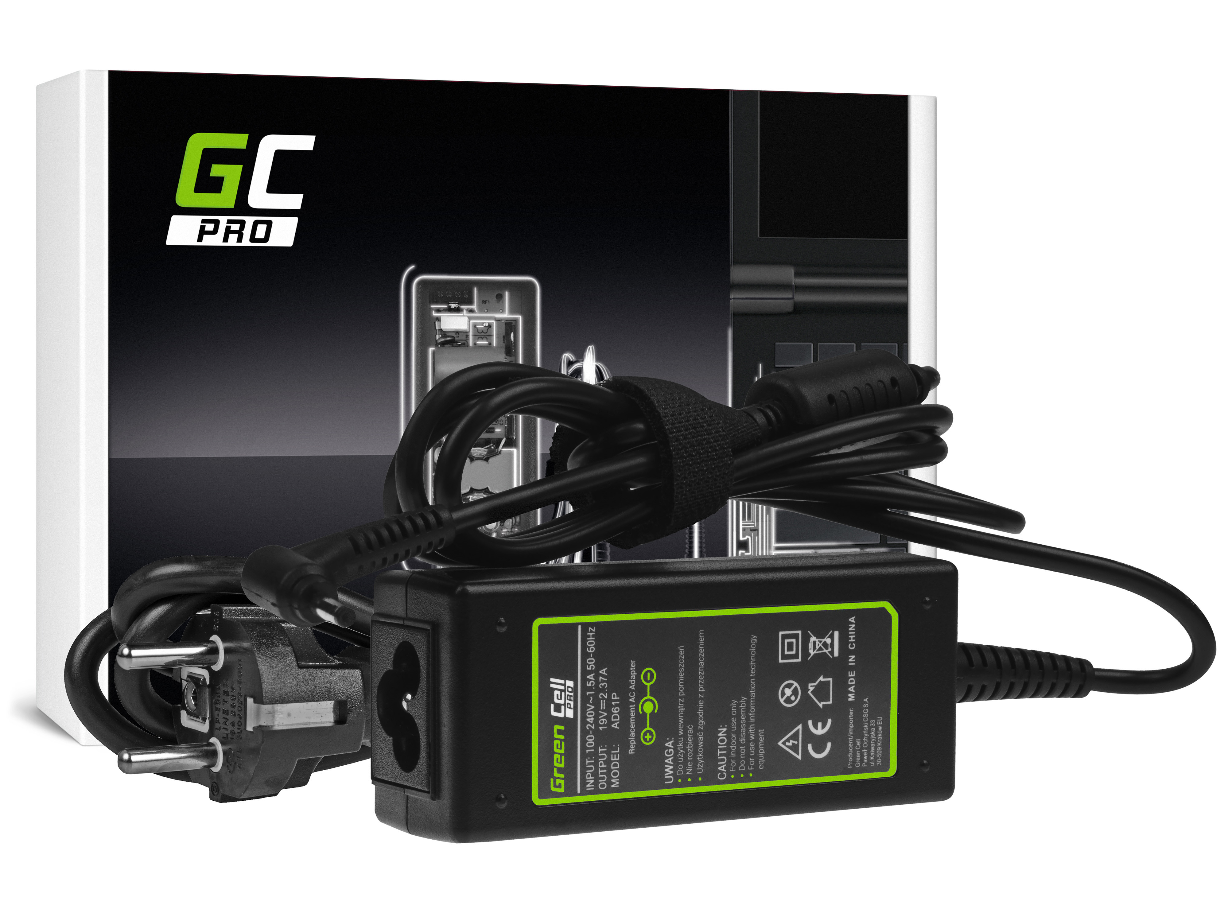 Green Cell AD61P Adaptér Nabíječka Asus ZenBook UX21E UX31E, Acer Chromebook 11 CB3-111 13 CB5-311 19V 2.37A 45W