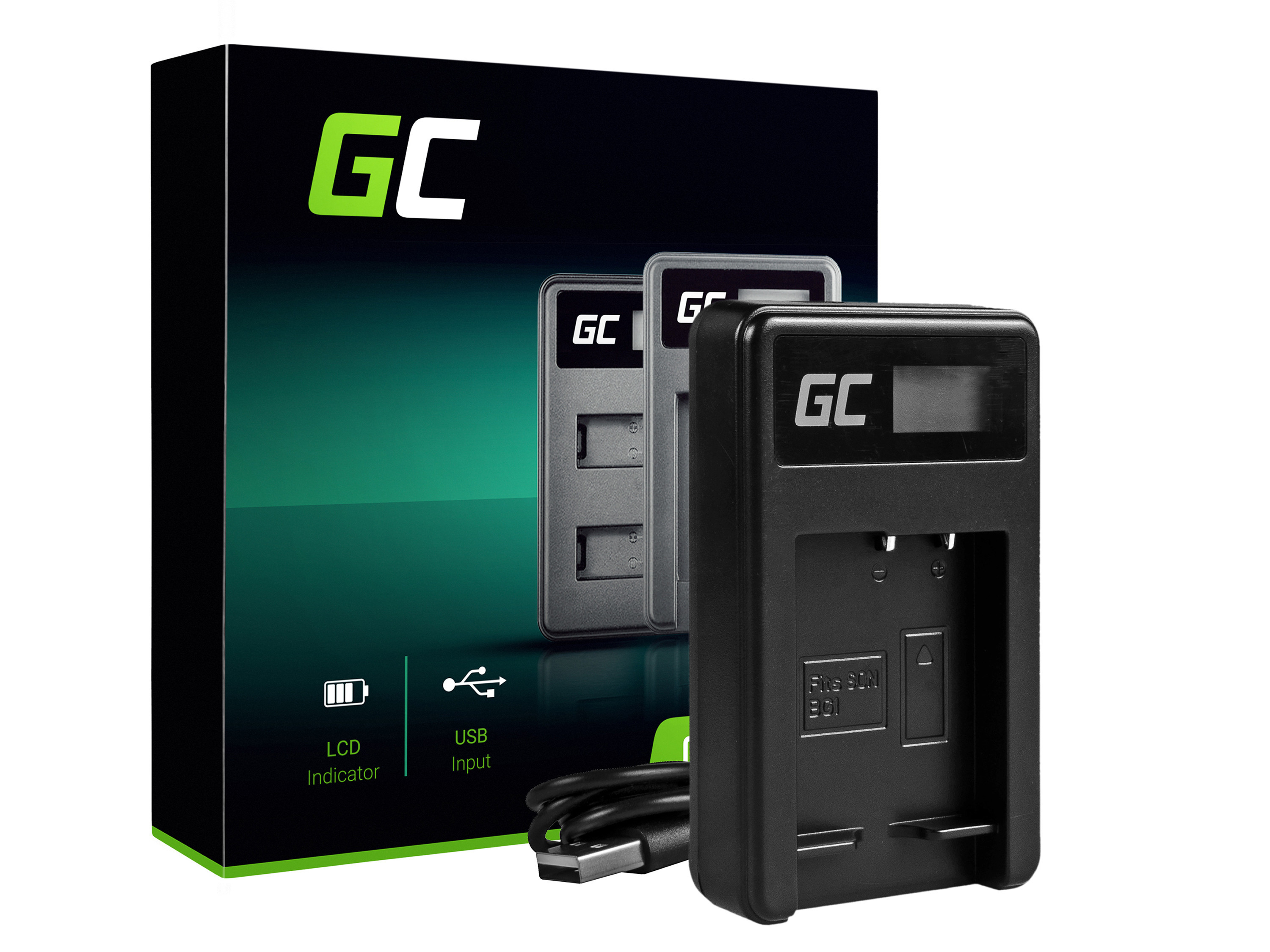 Charger BC-CSG Green Cell® for Sony NP-BG1/NP-FG1, DSC H10, H20, H50, HX5, HX10, T50, W50, W70